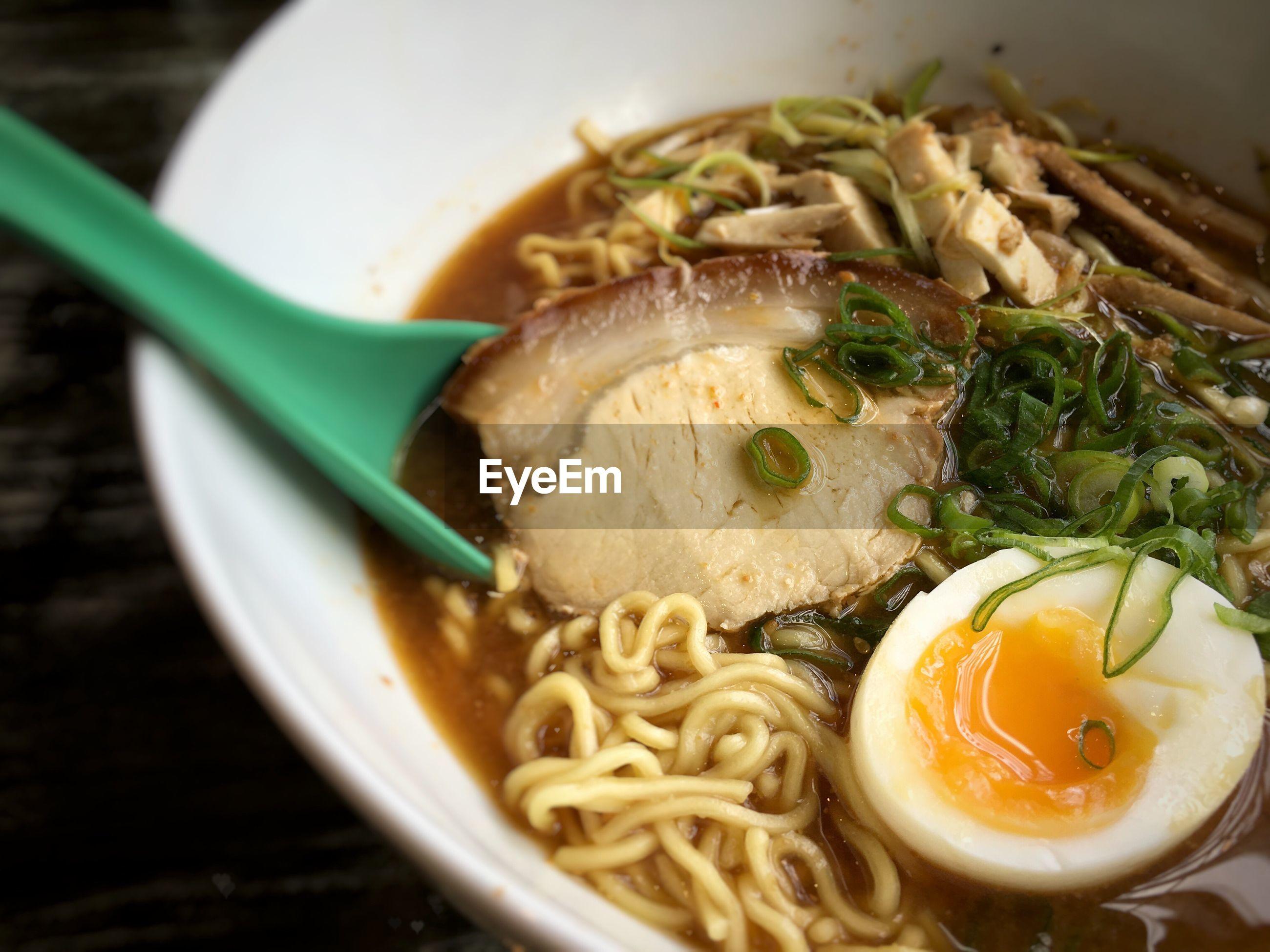 Close-up of fresh ramen noodles