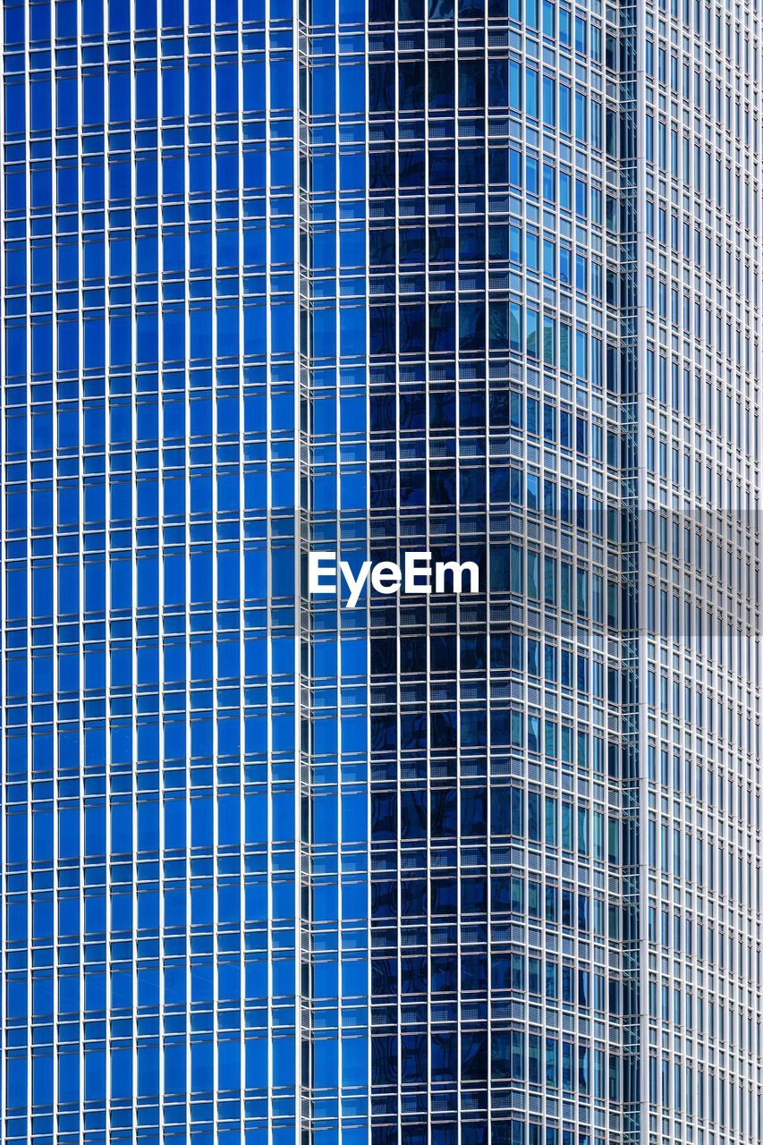 full frame, built structure, backgrounds, blue, architecture, building exterior, pattern, no people, office building exterior, office, building, modern, city, glass - material, day, reflection, window, low angle view, outdoors, skyscraper