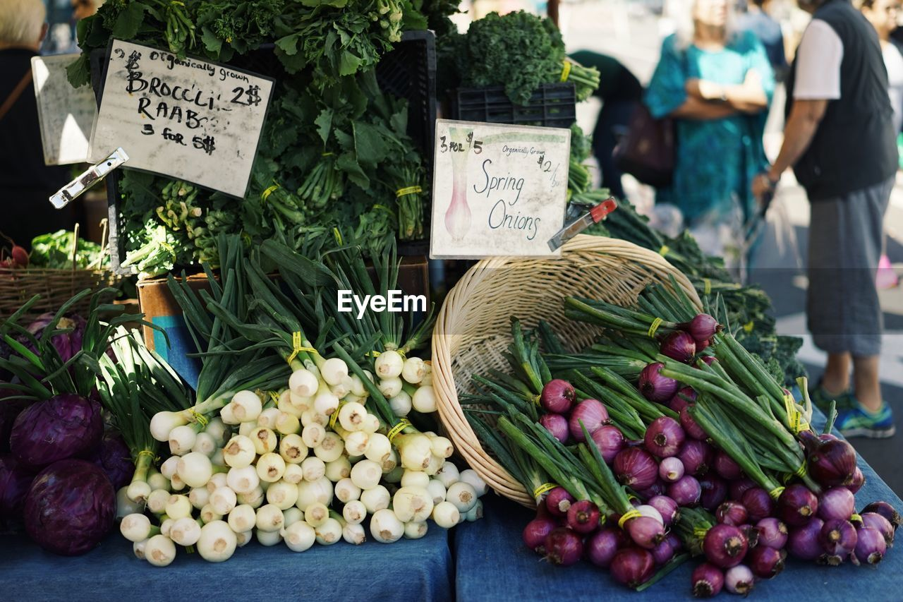 Spring Onion At Market Stall For Sale