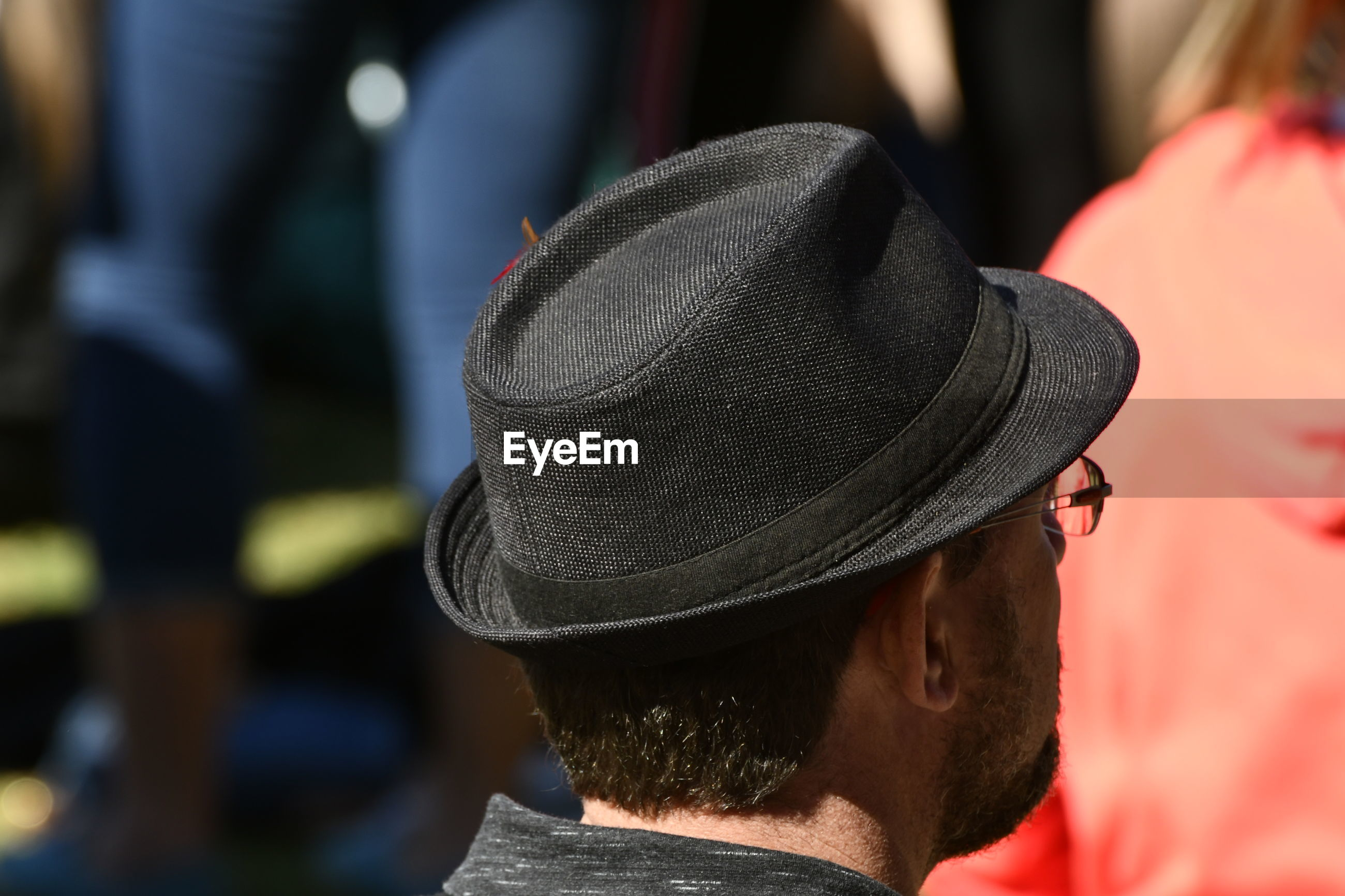 Rear view of man wearing hat outdoors