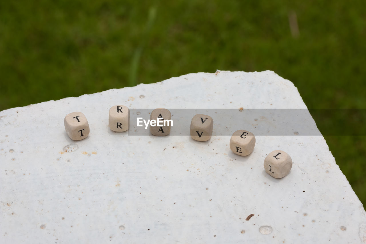 white color, no people, close-up, day, number, focus on foreground, nature, dice, text, high angle view, arts culture and entertainment, grass, communication, outdoors, western script, shape, leisure games, green color, leisure activity, selective focus
