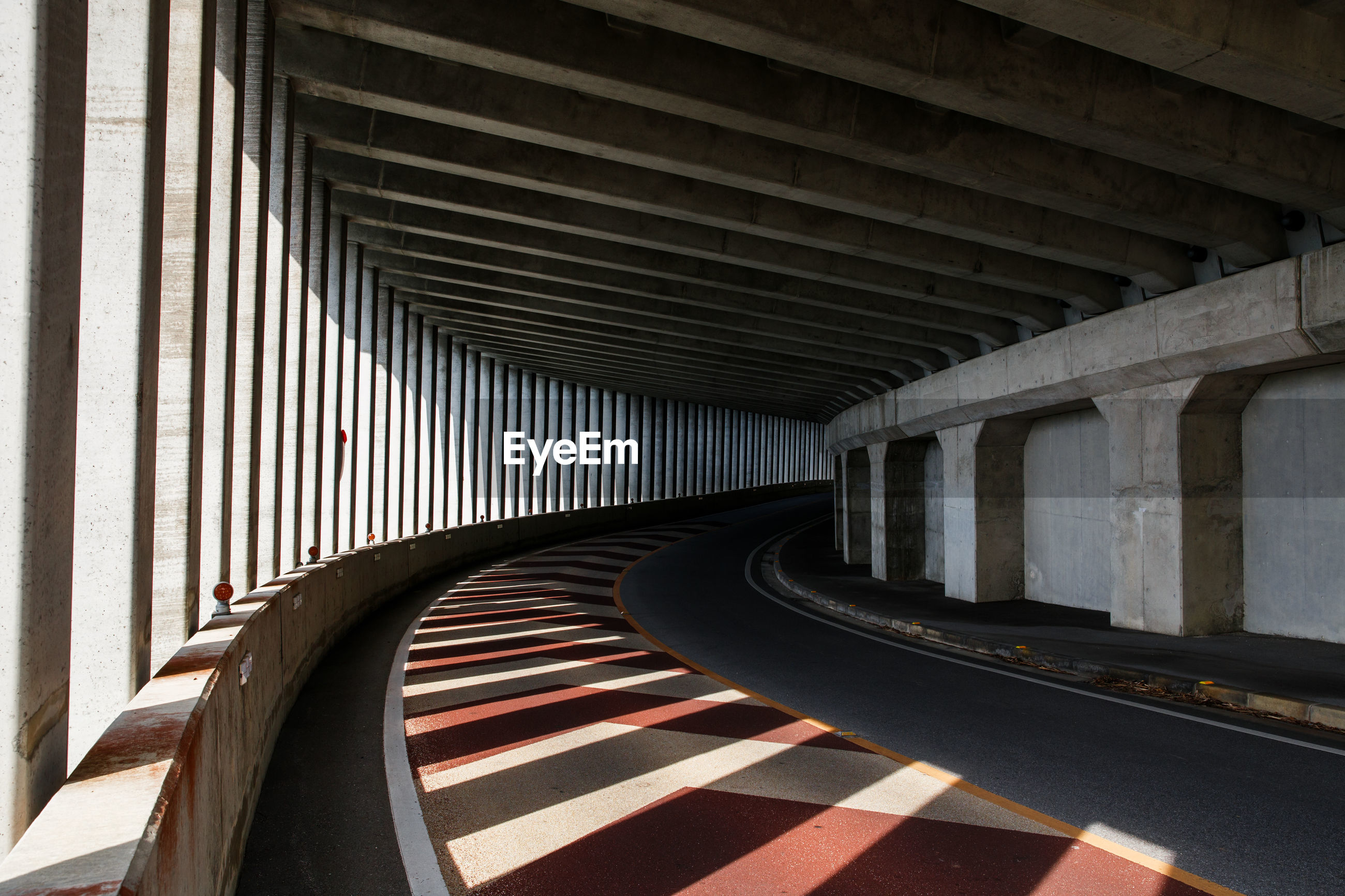 View of empty road in tunnel