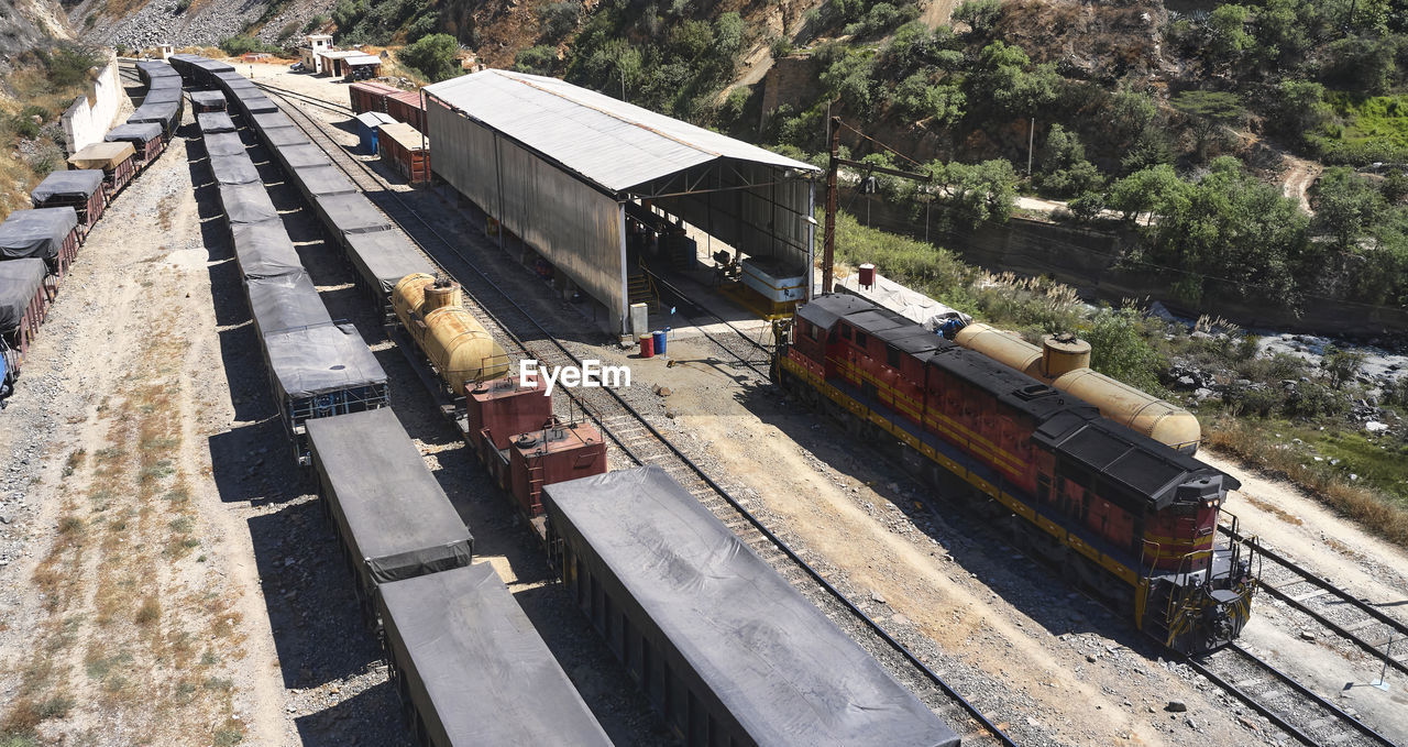HIGH ANGLE VIEW OF TRAIN ON ROAD
