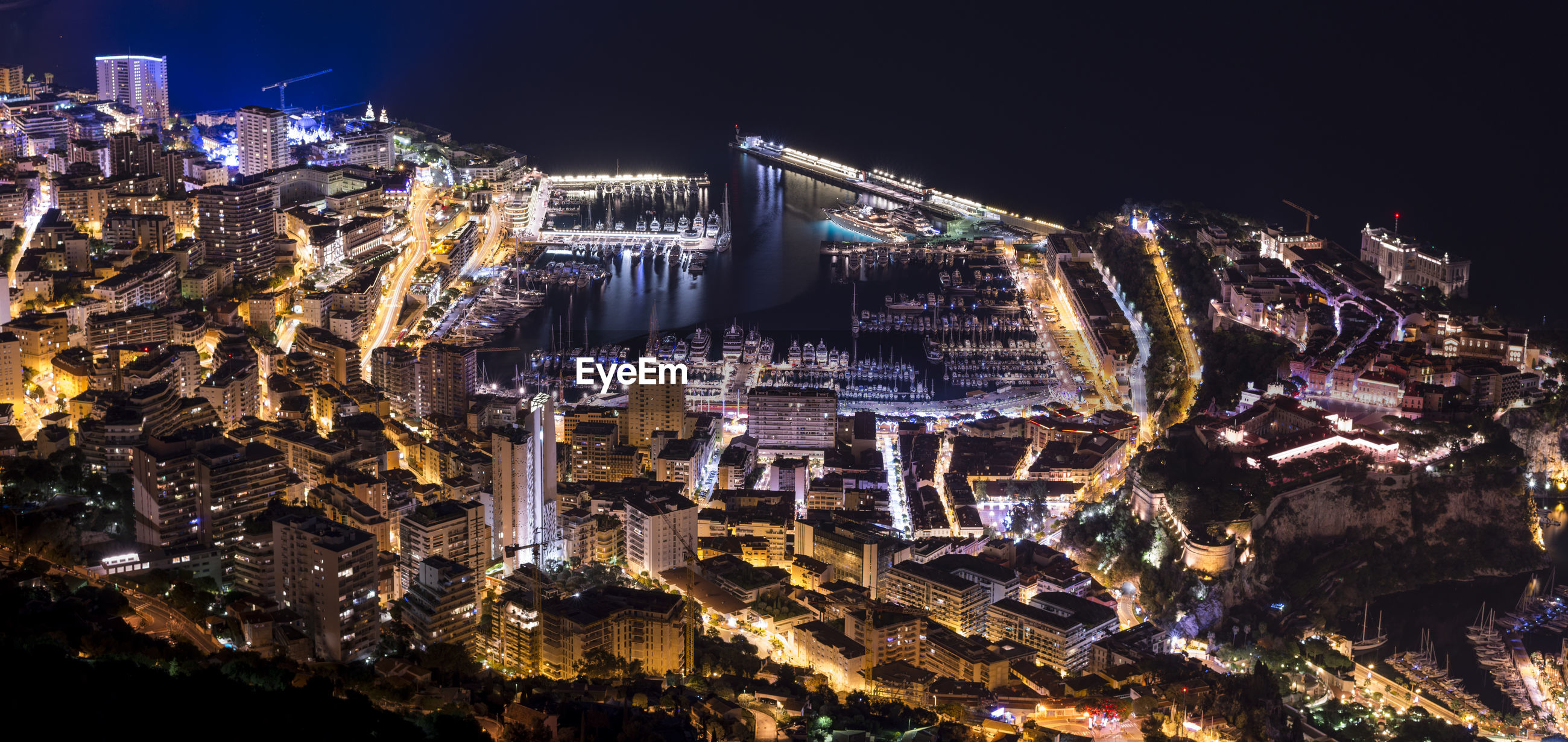 Aerial view of monaco at night