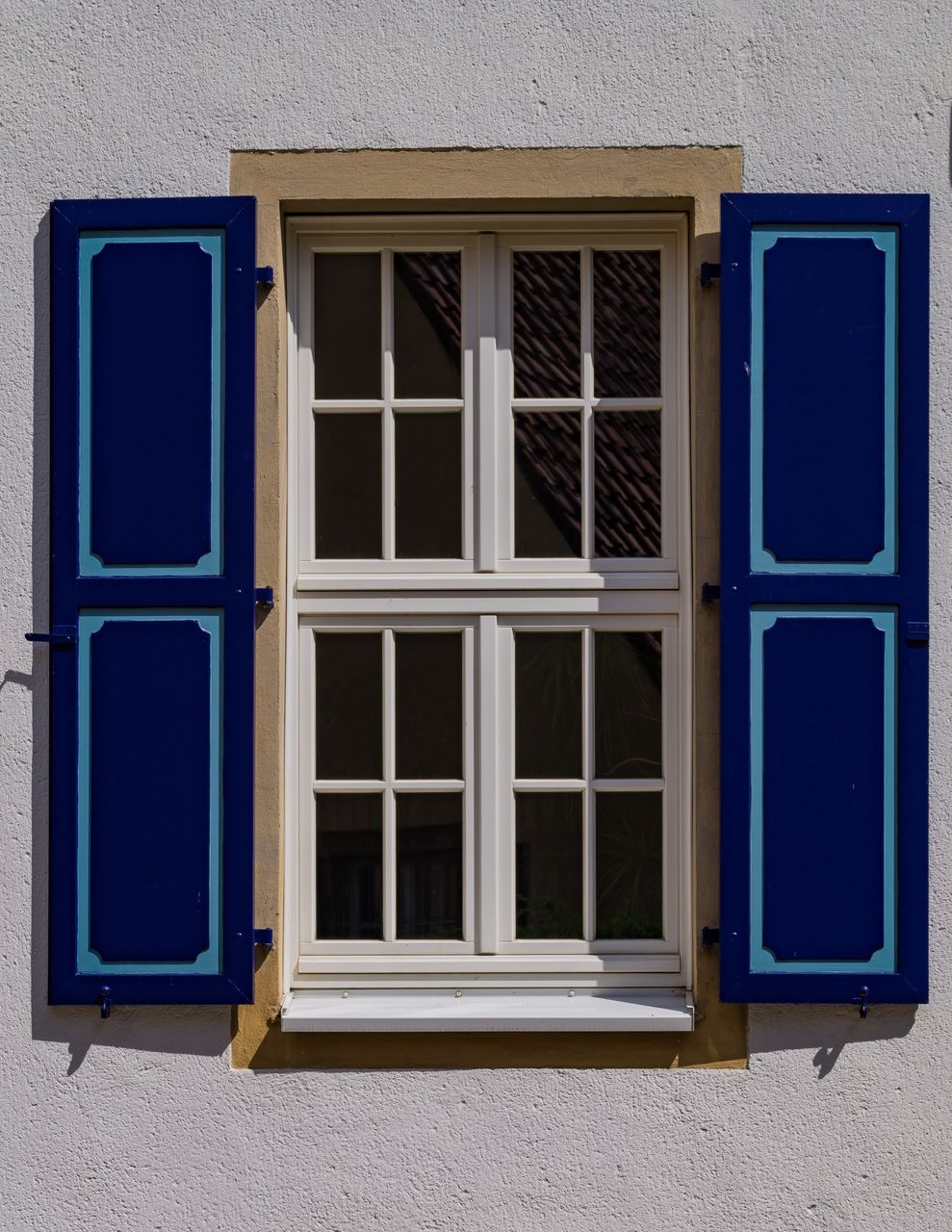 window, built structure, architecture, building exterior, building, no people, glass - material, house, day, blue, closed, wall - building feature, window frame, residential district, outdoors, open, geometric shape, shape, security, door