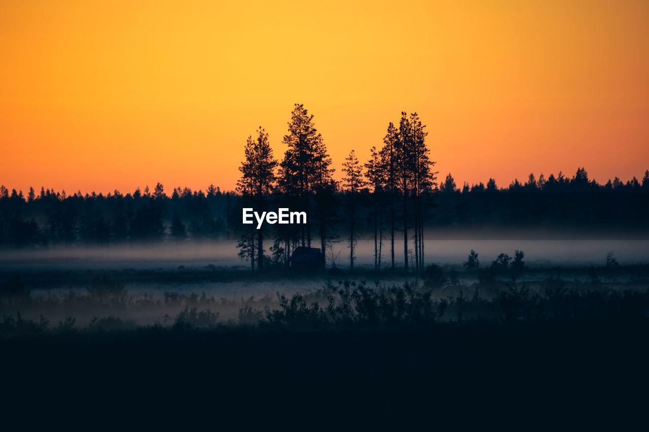 Silhouette Trees On Landscape Against Orange Sky