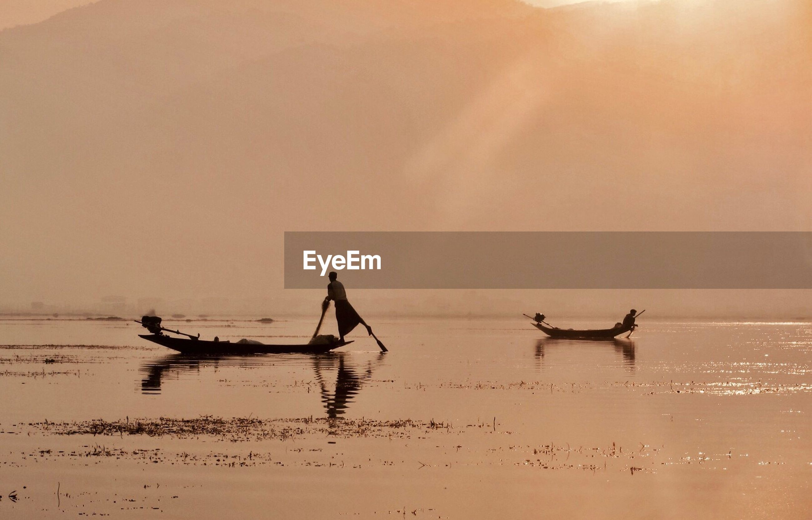 water, occupation, sunset, fishing net, nautical vessel, fisherman, outdoors, tranquility, nature, sky, day, outrigger, people