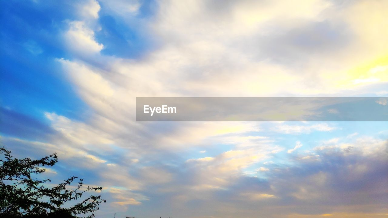 cloud - sky, sky, beauty in nature, low angle view, scenics - nature, no people, tranquility, nature, tree, tranquil scene, plant, outdoors, day, sunset, non-urban scene, idyllic, blue, treetop, growth