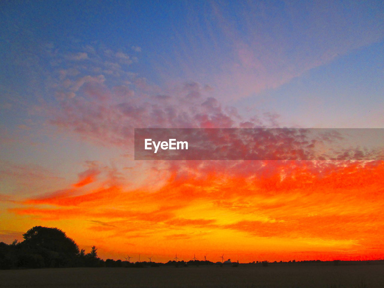 sky, sunset, scenics - nature, beauty in nature, cloud - sky, tranquil scene, tranquility, orange color, silhouette, landscape, environment, no people, idyllic, nature, non-urban scene, tree, plant, field, land, outdoors, romantic sky
