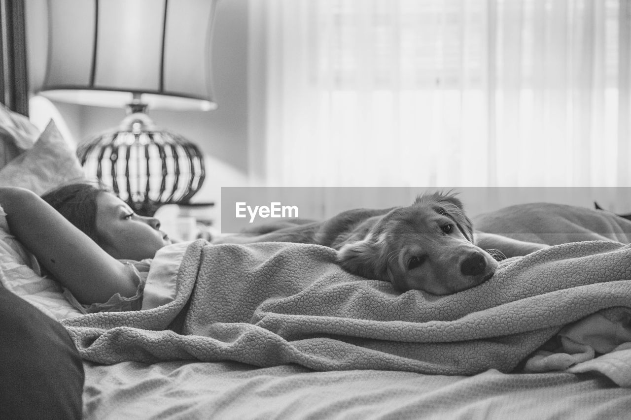 Girl Lying With Dog On Bed At Home