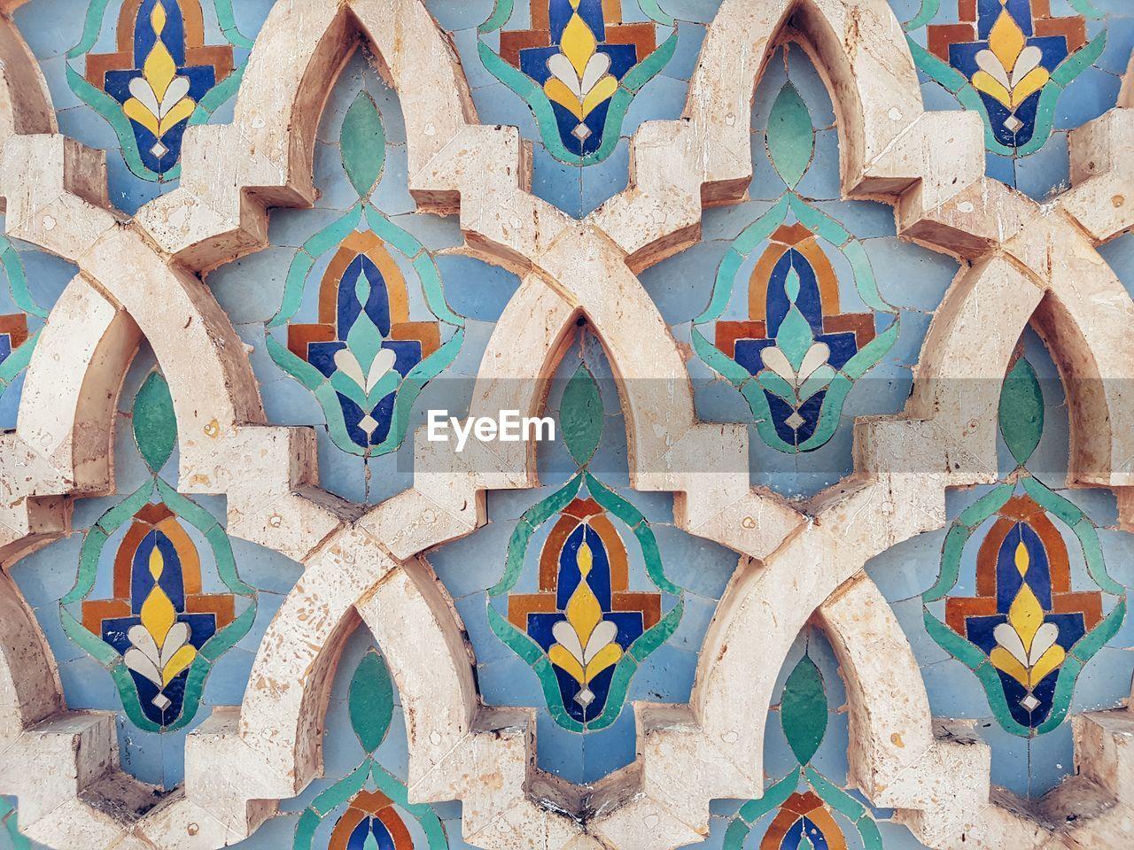 Close-up of mosaic on wall