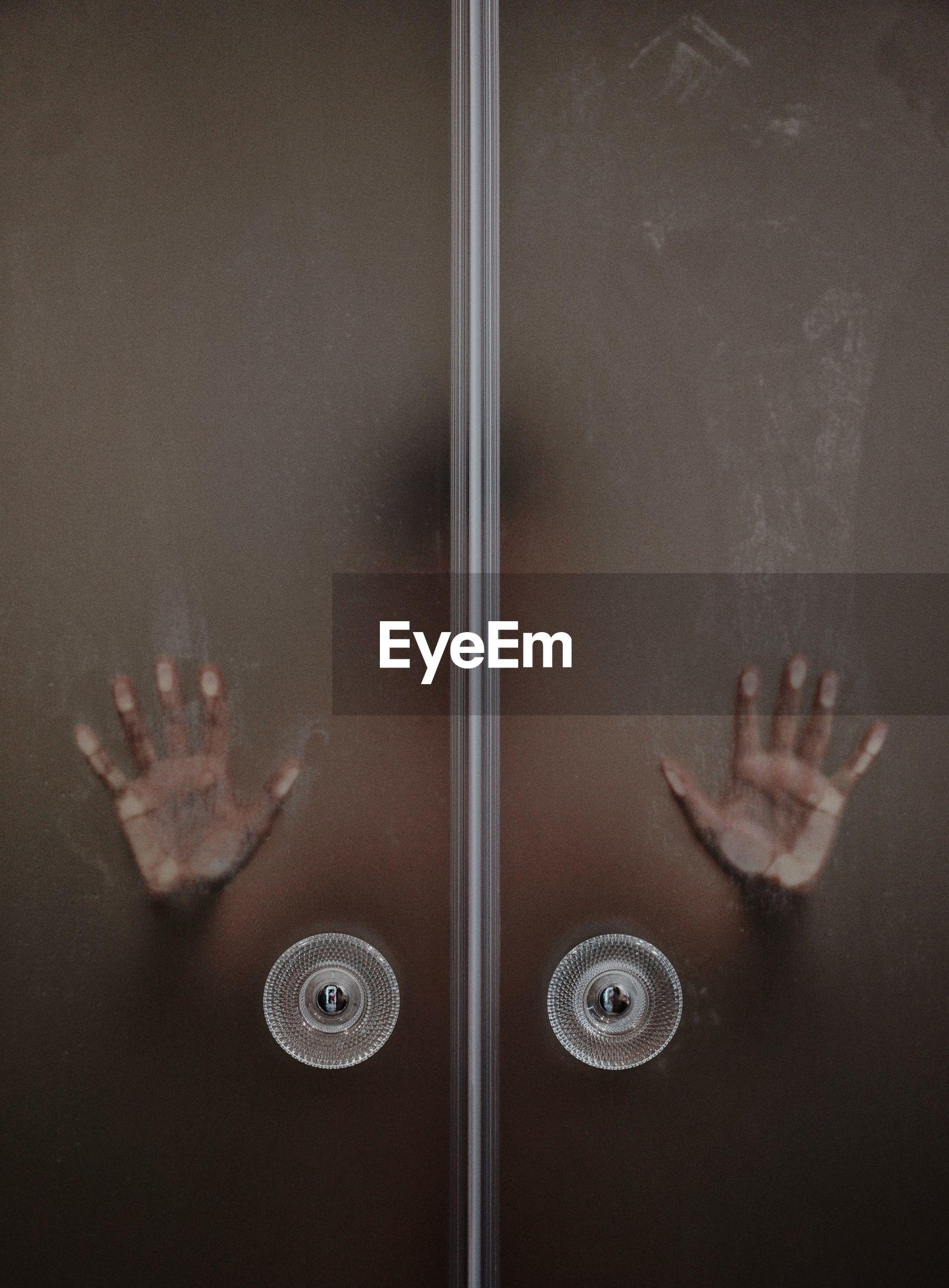 Person in bathroom seen through glass door