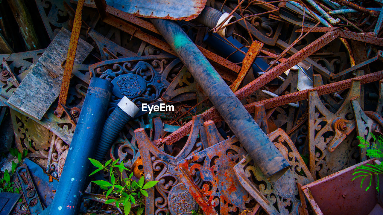 metal, rusty, abandoned, obsolete, machinery, machine part, no people, day, blue, outdoors, close-up