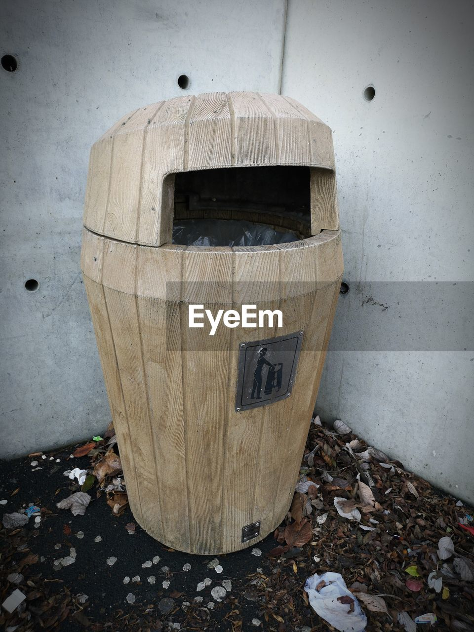 day, no people, abandoned, garbage, outdoors, architecture, garbage bin, dirt, environmental issues, cylinder, nature, obsolete, barrel, empty, wall - building feature, damaged, old, leaf, garbage can, wood - material
