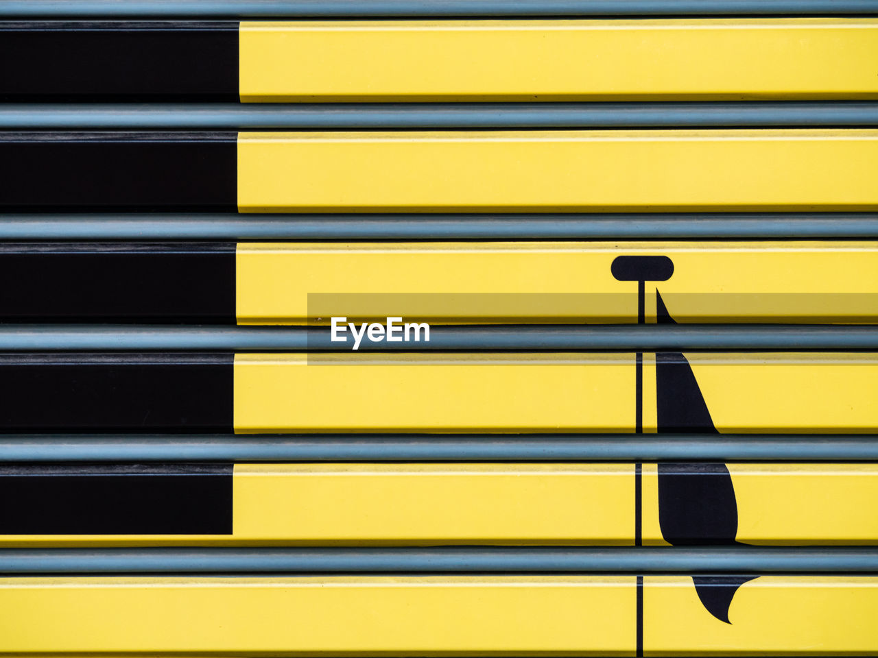 yellow, full frame, backgrounds, no people, pattern, architecture, day, built structure, close-up, metal, vibrant color, outdoors, repetition, wall - building feature, blue, in a row, striped, textured, wood - material