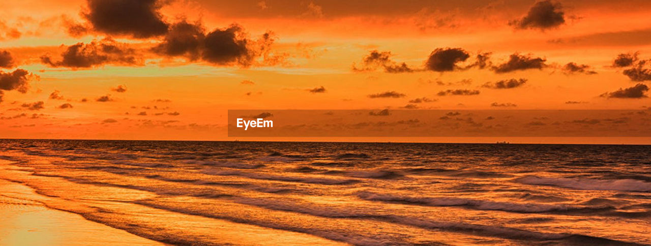 sunset, sky, sea, beauty in nature, water, scenics - nature, horizon over water, tranquility, horizon, orange color, tranquil scene, nature, cloud - sky, land, no people, dramatic sky, idyllic, beach, sunlight, outdoors