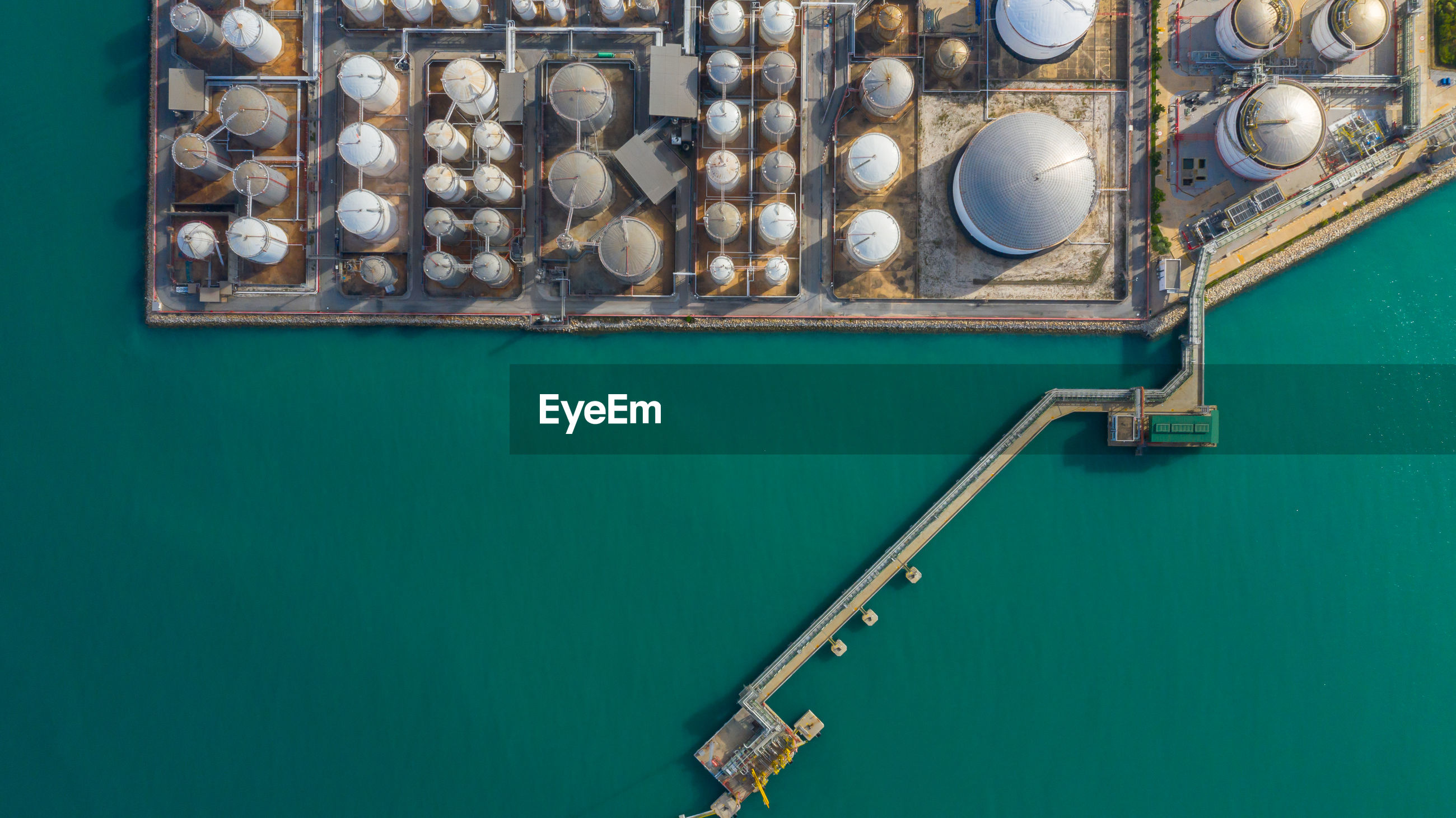 Aerial view of storage tanks
