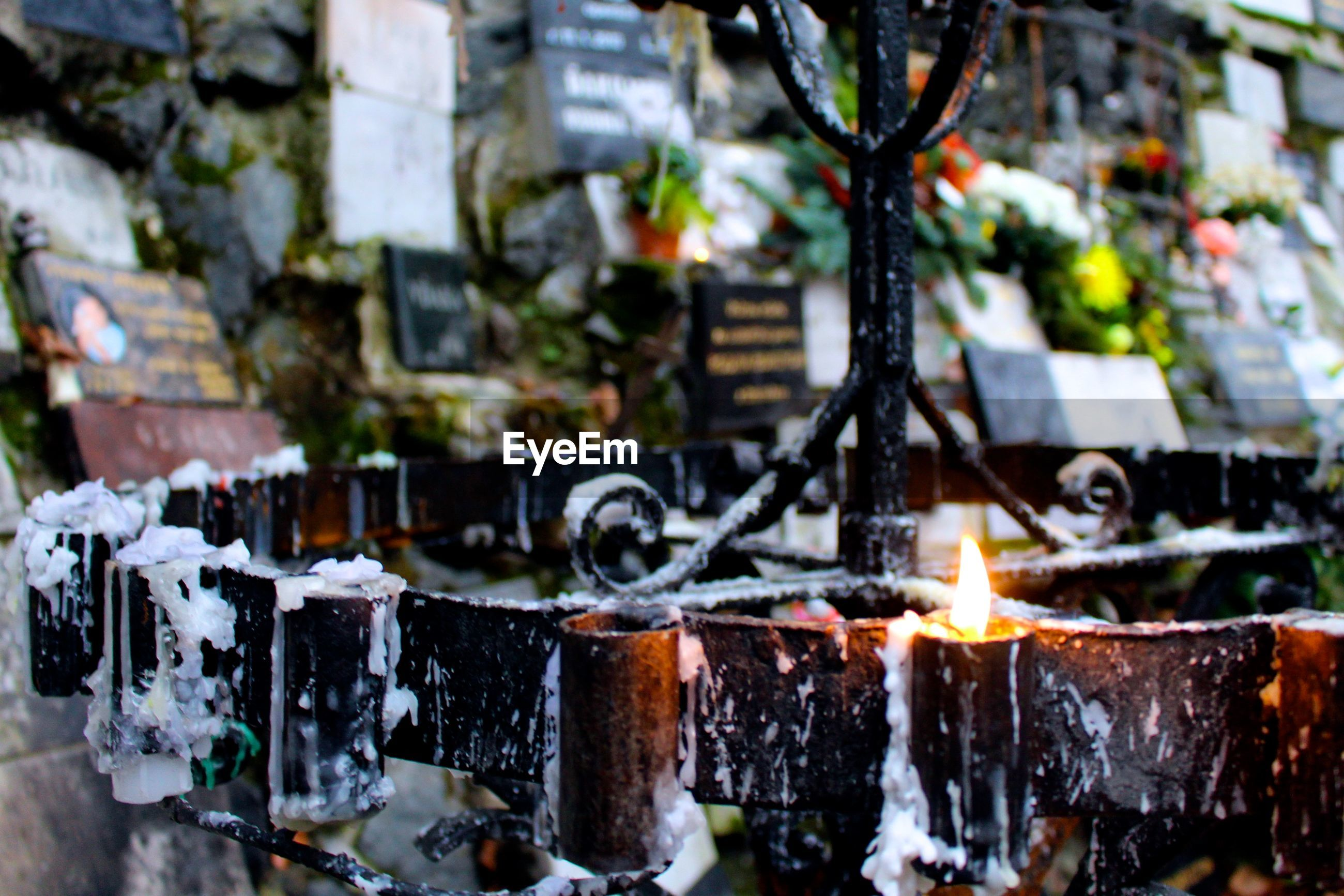 Close-up of lit candle on holder in cemetery