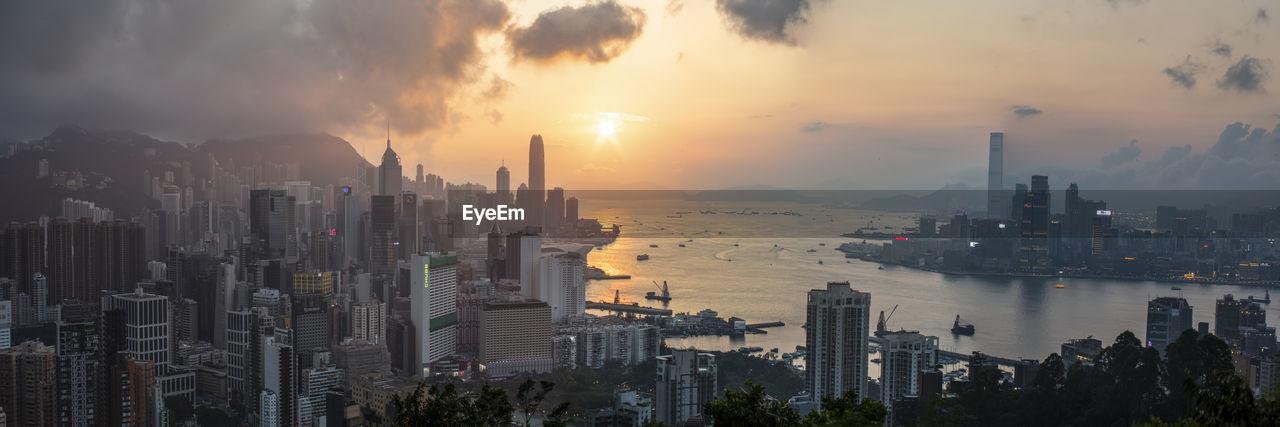 Cityscape from braemar hill at sunset, hong kong
