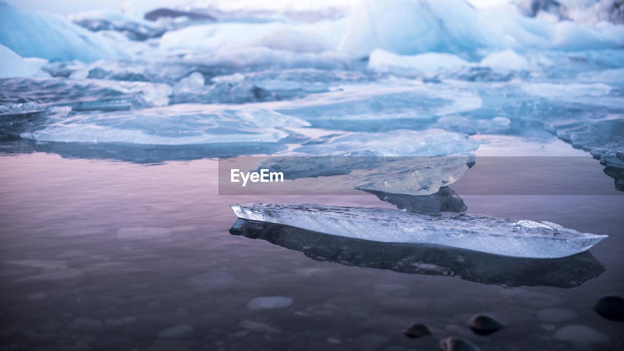 Close-up iceberg in sea