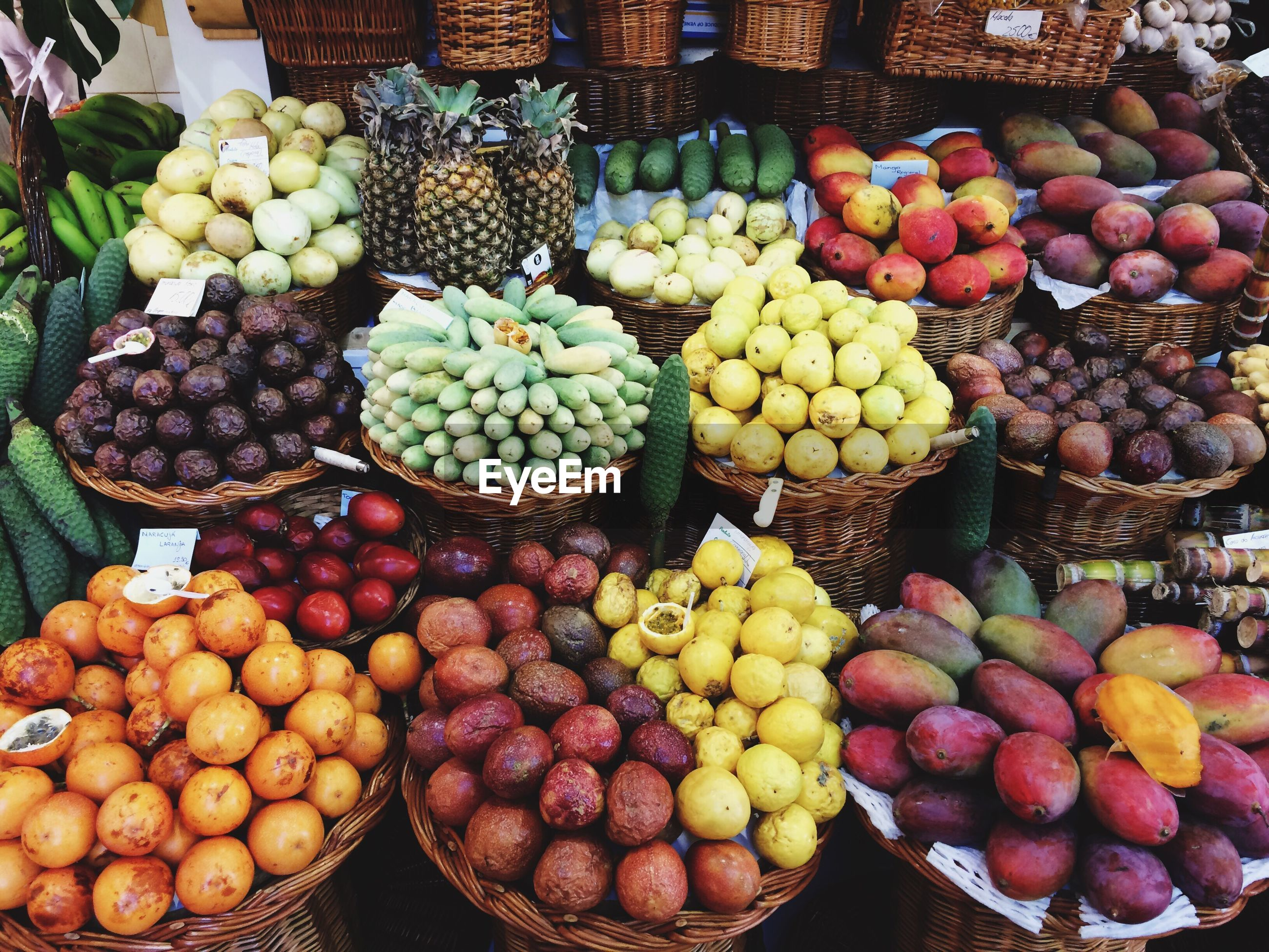 High angle view fruits for sale in market