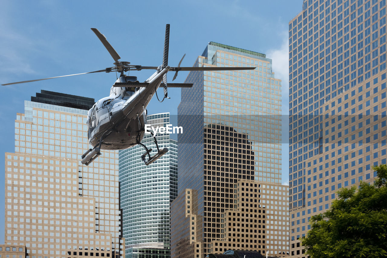 Low Angle View Of Helicopter In Mid-Air