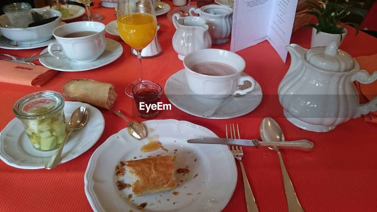 High Angle View Of Breakfast On Table At Restaurant