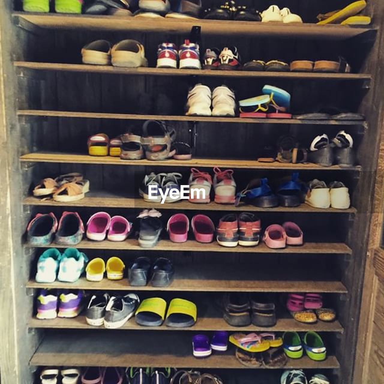 shelf, variation, choice, large group of objects, retail, for sale, shelves, abundance, multi colored, store, in a row, arrangement, no people, shoe, indoors, day