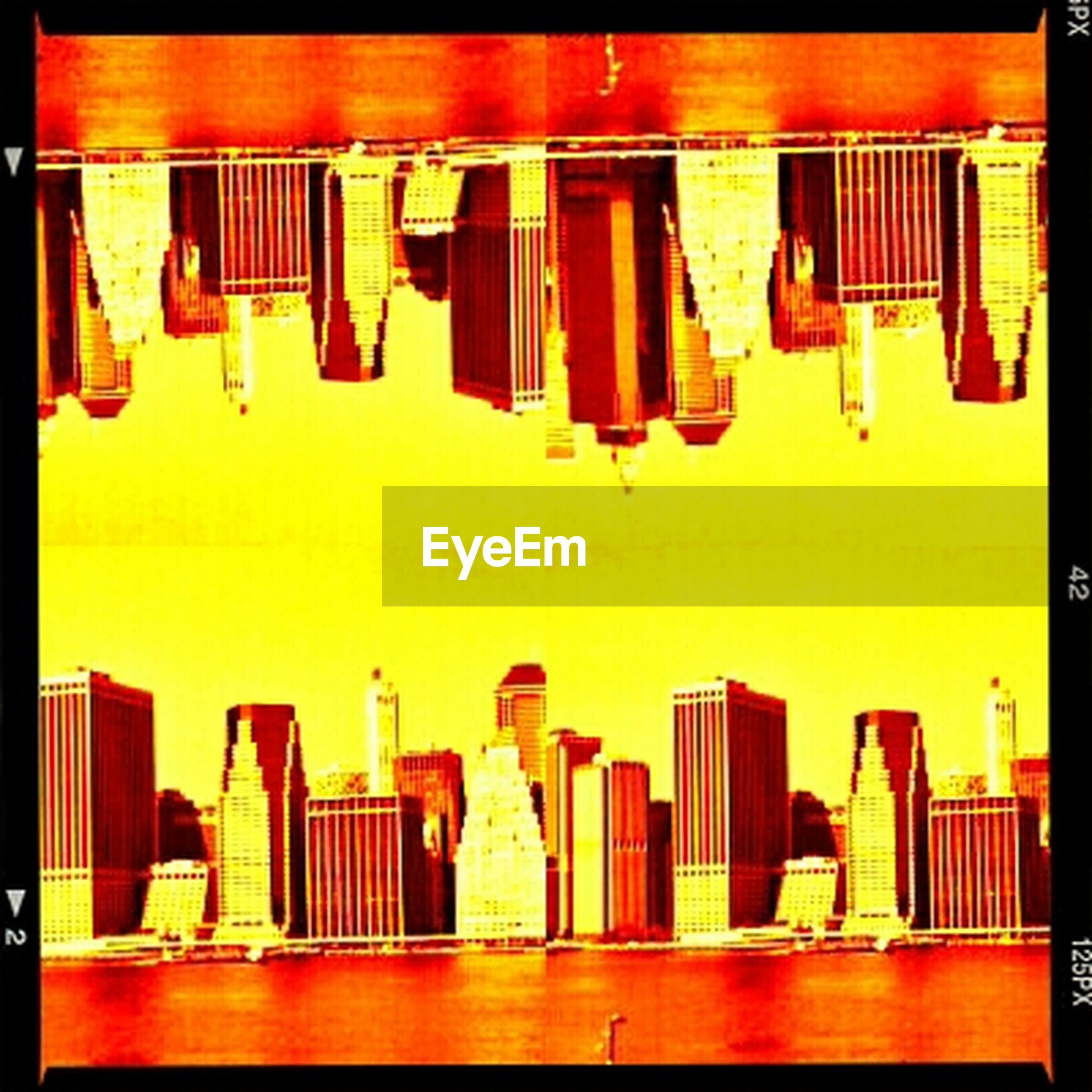 transfer print, auto post production filter, indoors, architecture, built structure, in a row, no people, arrangement, side by side, orange color, building exterior, order, hanging, yellow, chair, repetition, culture, day, large group of objects