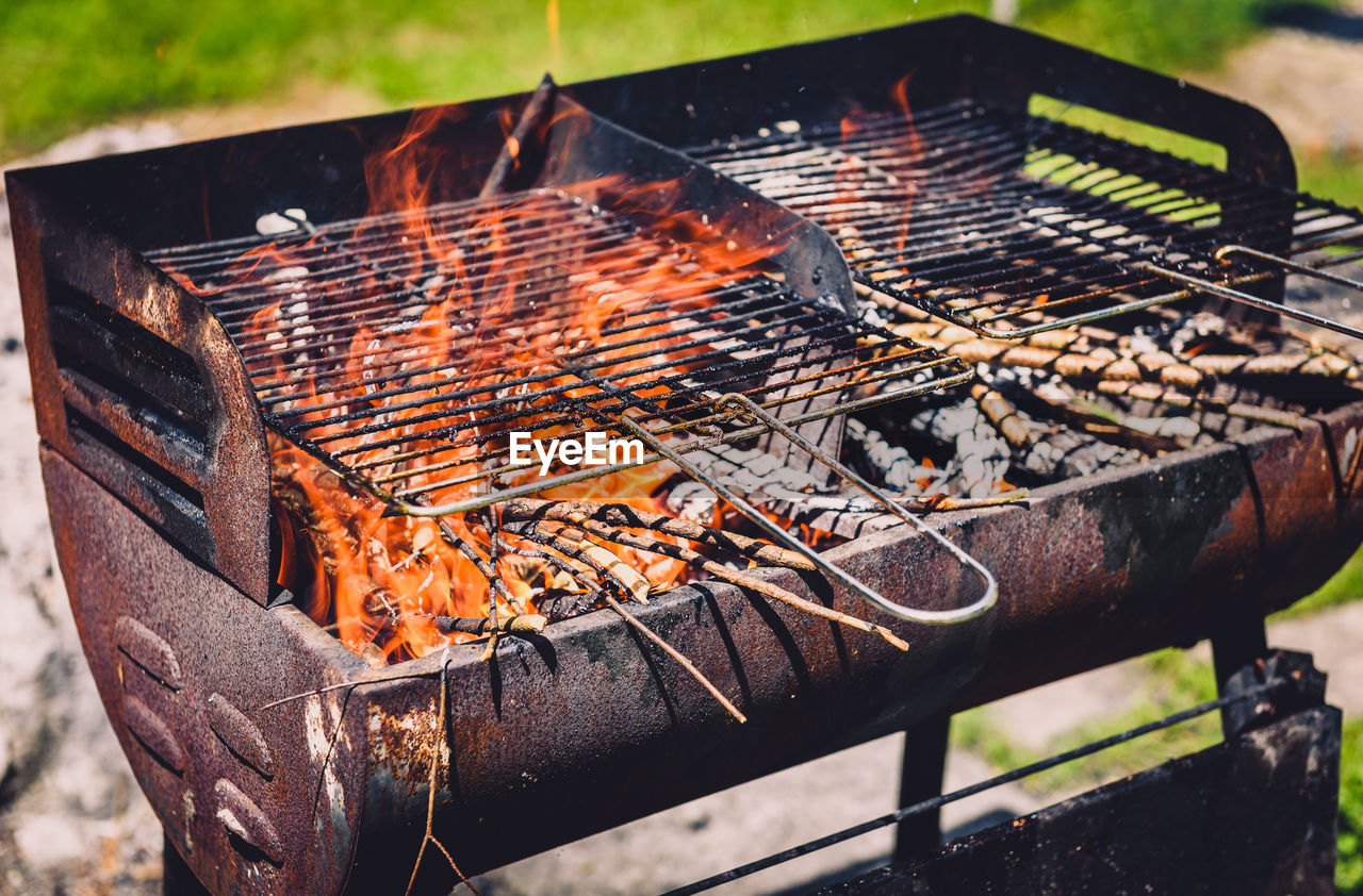Close-Up Of Barbecue Grill In Yard
