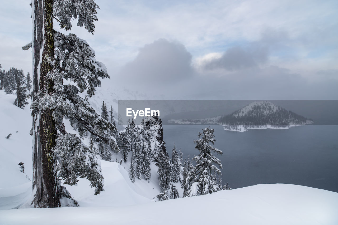 Scenic View Of Snowcapped Mountains By Lake Against Cloudy Sky
