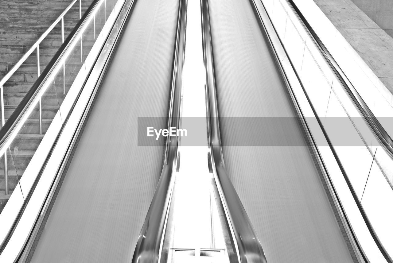 High Angle View Of Moving Walkway In Building