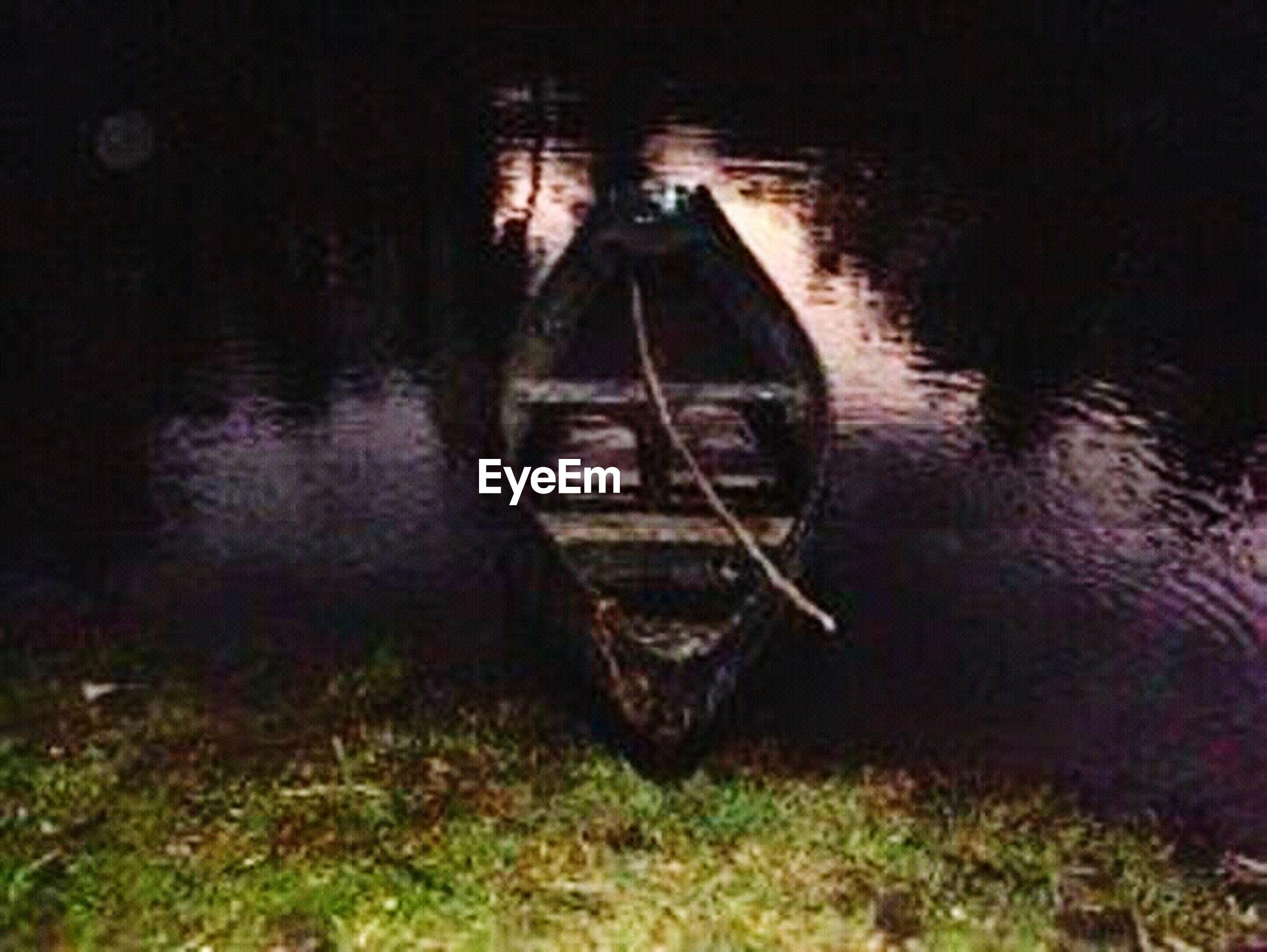 water, spooky, night, no people, nautical vessel, lake, outdoors, nature, sunken