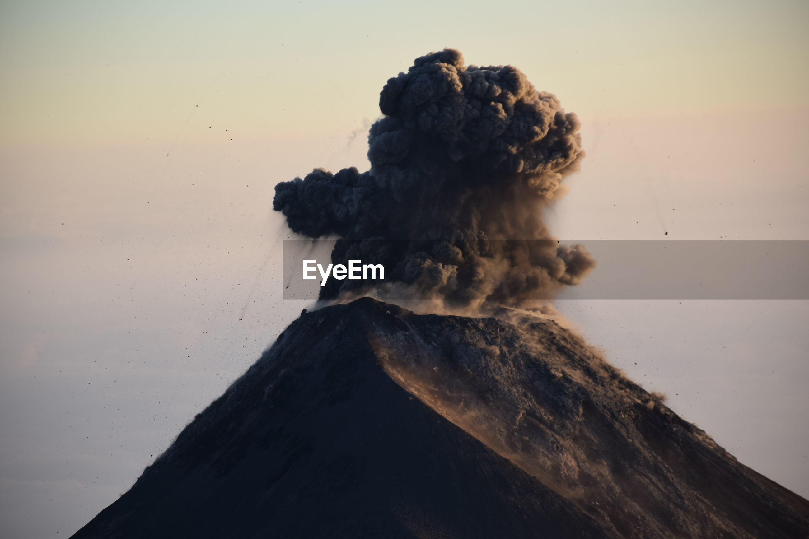 Eruption of fuego volcano visible from the top of acatenango volcano