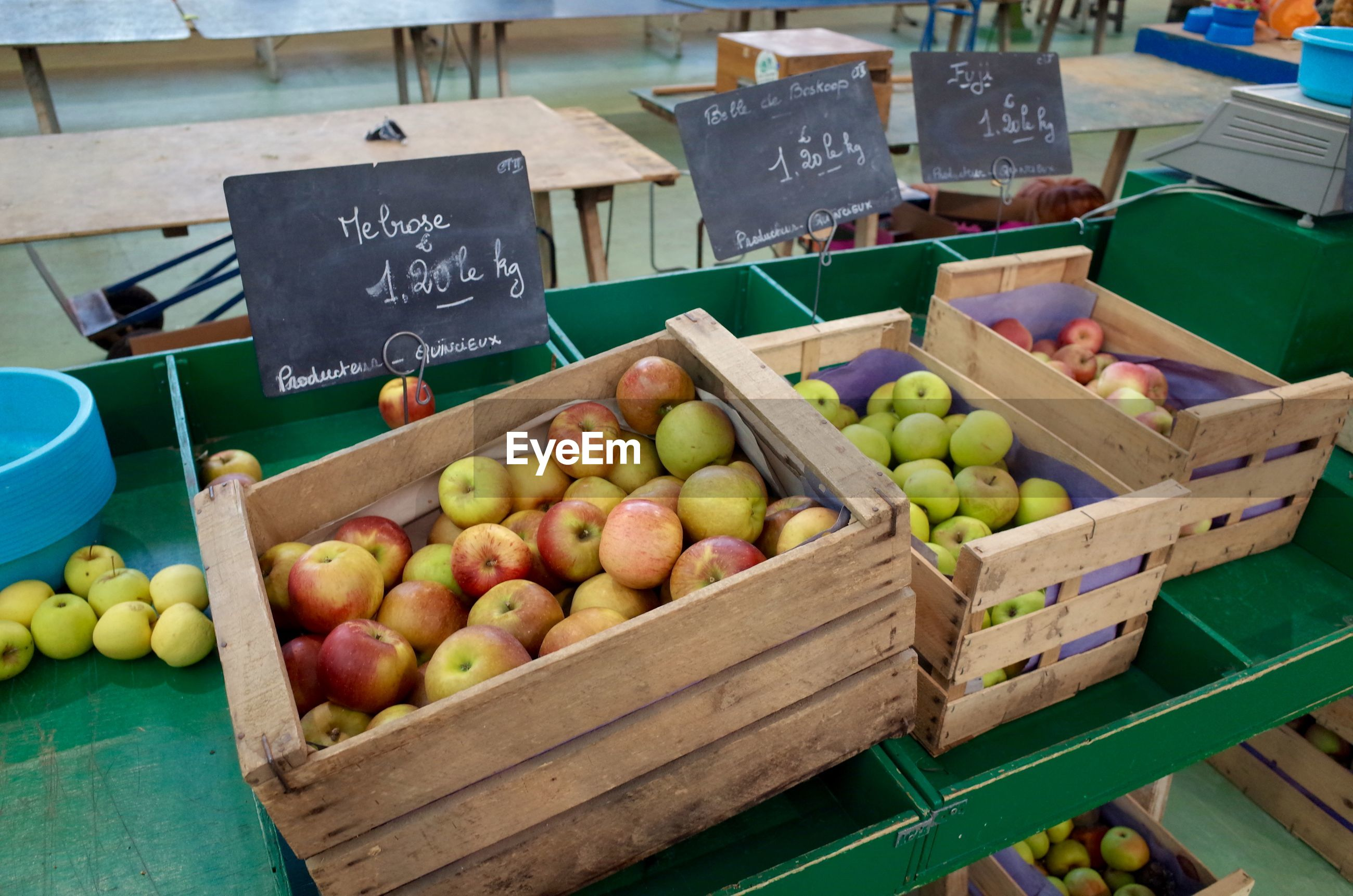 Various apples for sale at market