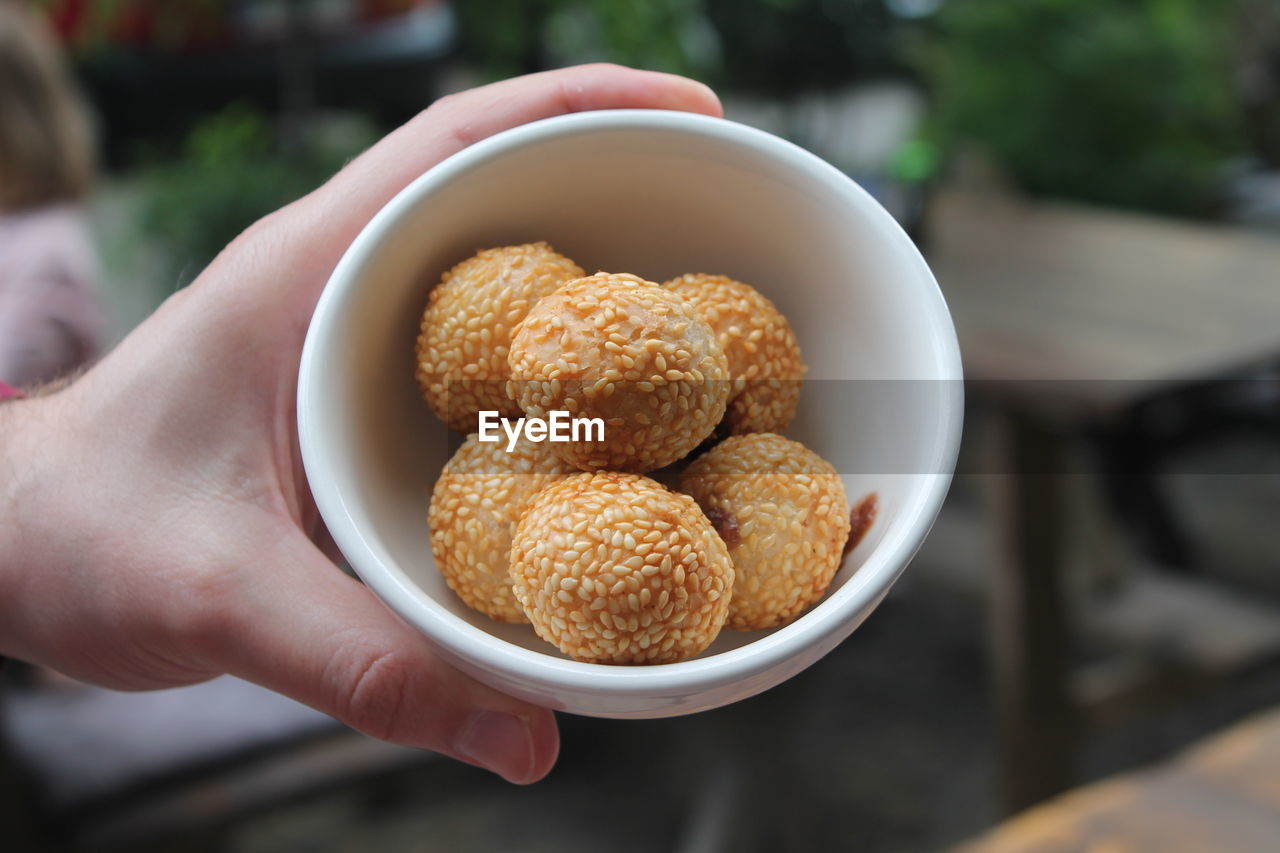 HAND HOLDING BOWL WITH FRIED SESAME BALLS
