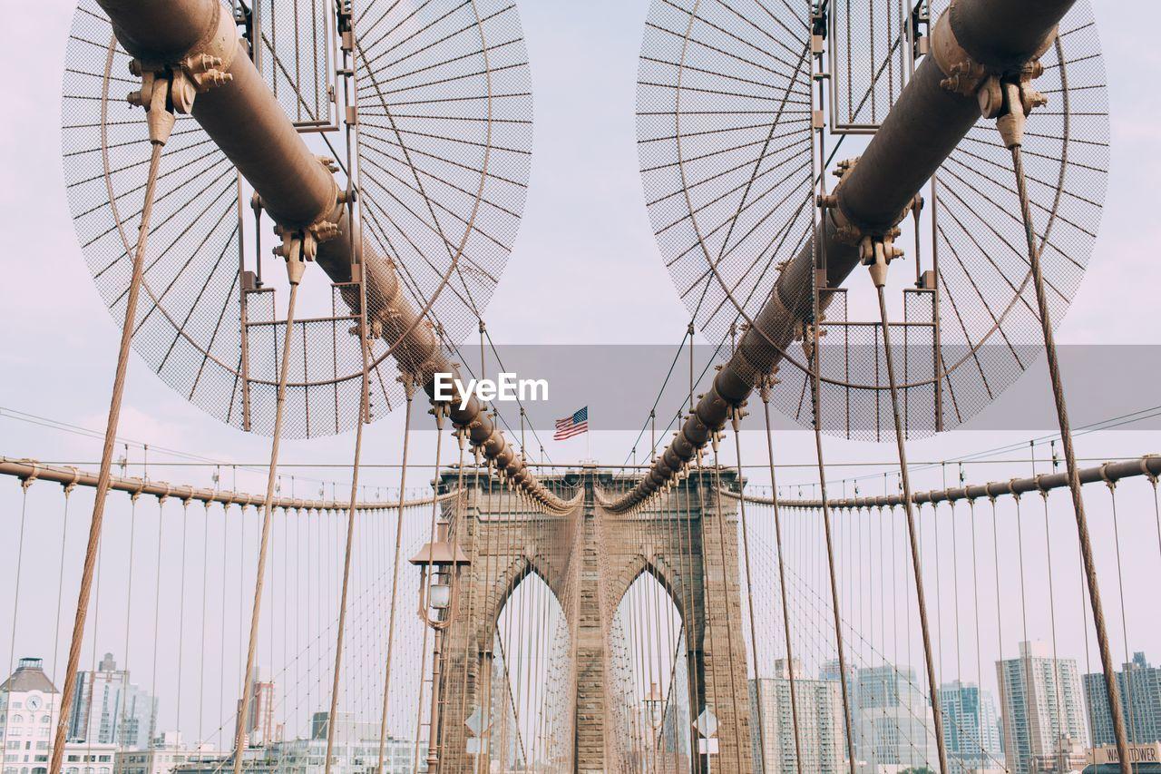 Brooklyn Bridge In City Against Sky