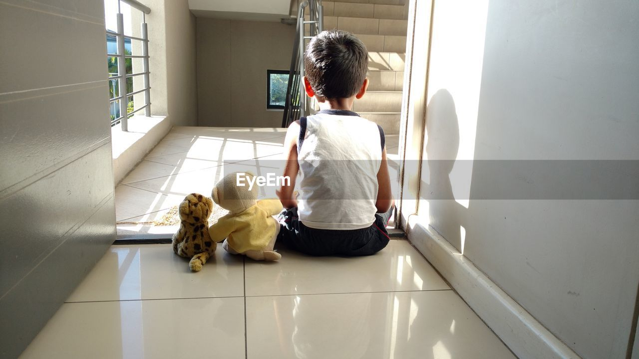 Rear View Of Lonely Child