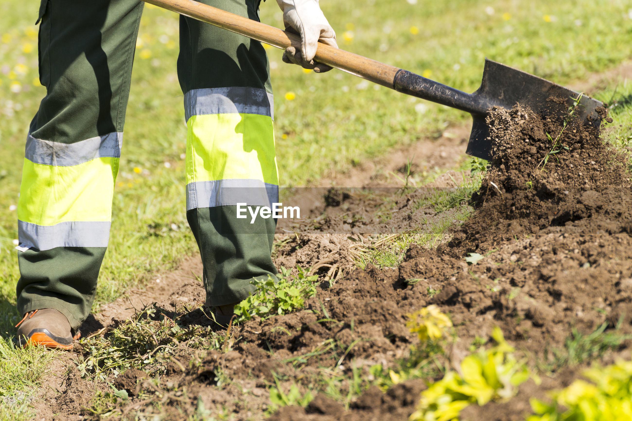 Low section of man gardening in garden