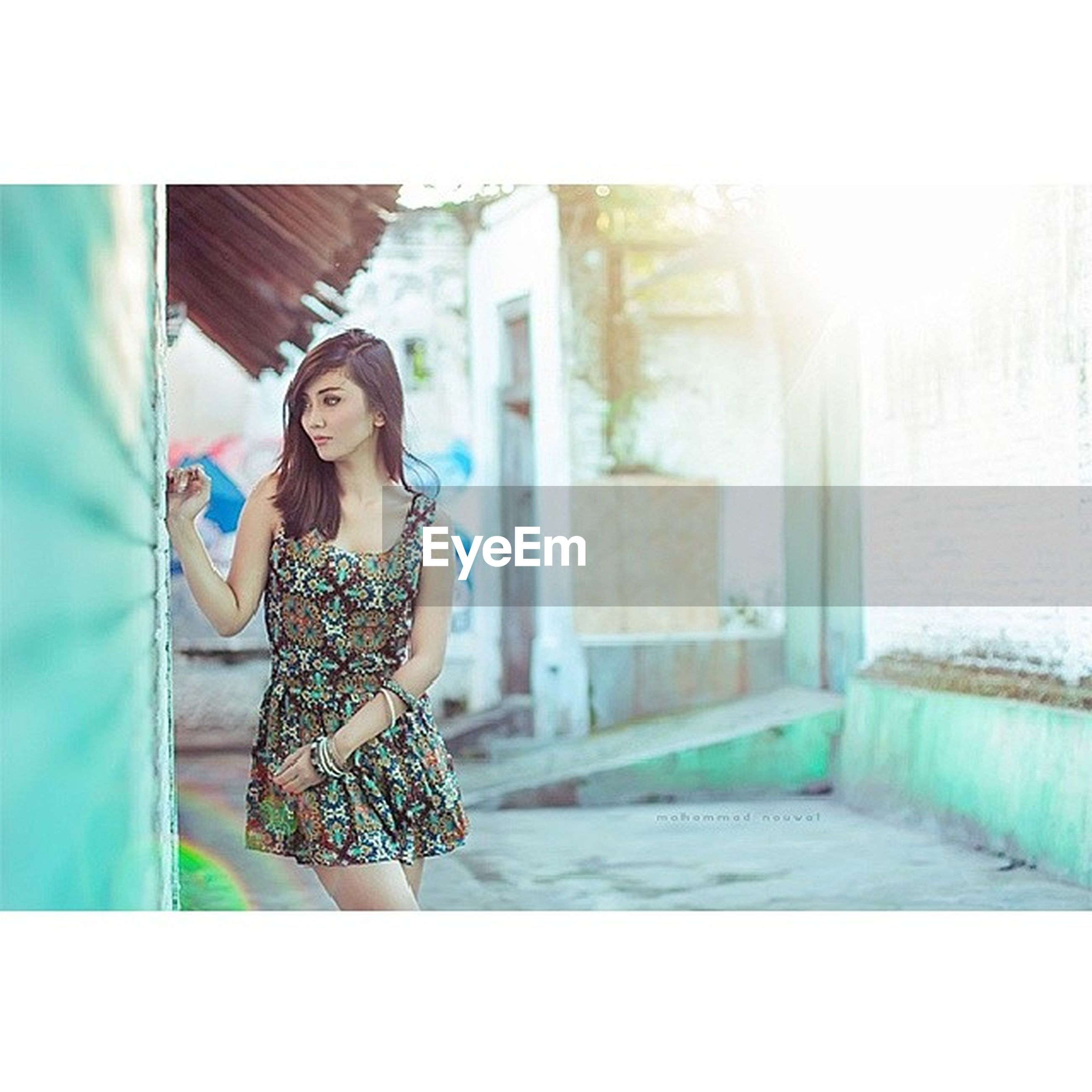 young adult, person, lifestyles, architecture, looking at camera, built structure, young women, portrait, leisure activity, building exterior, casual clothing, standing, front view, transfer print, auto post production filter, sunlight, full length