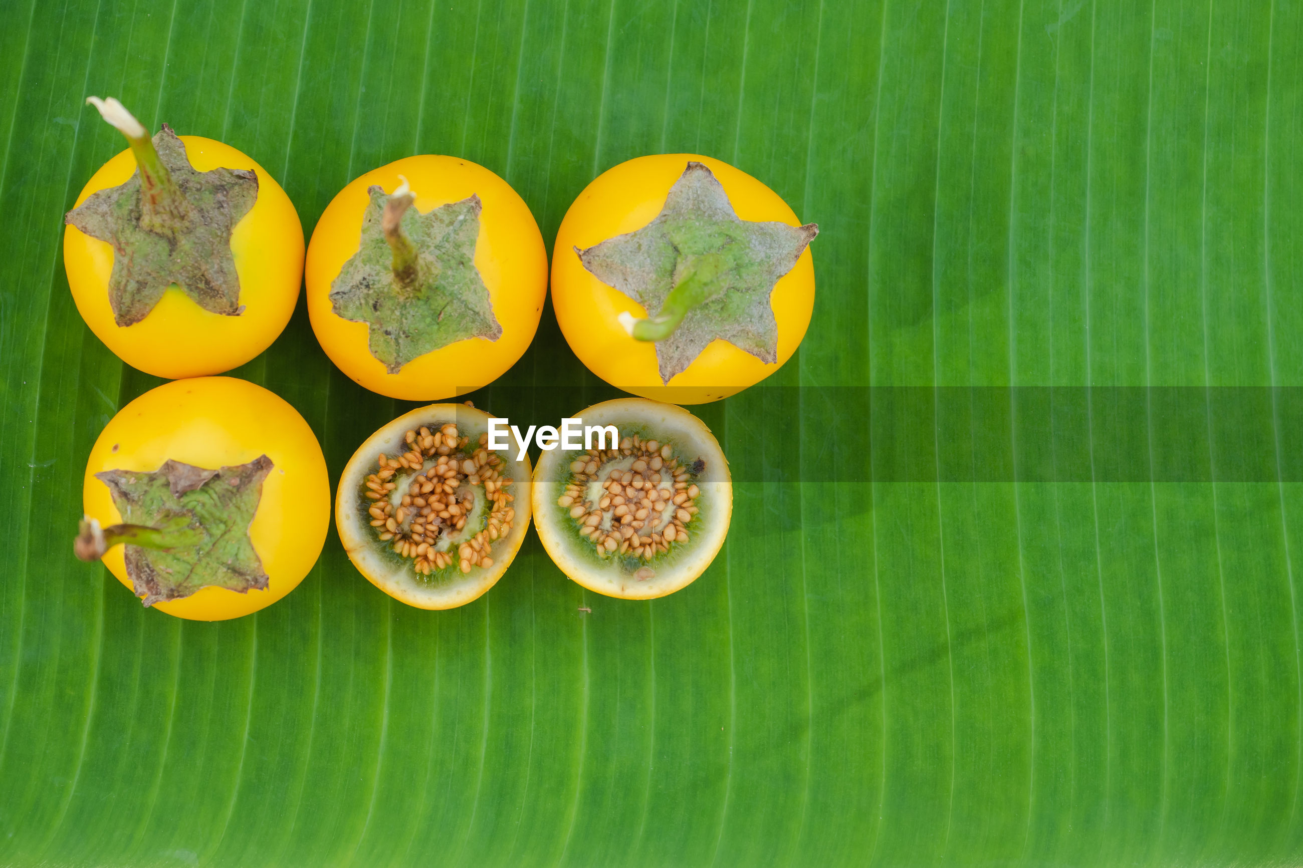 DIRECTLY ABOVE SHOT OF FRUITS AND LEAVES ON GREEN BACKGROUND