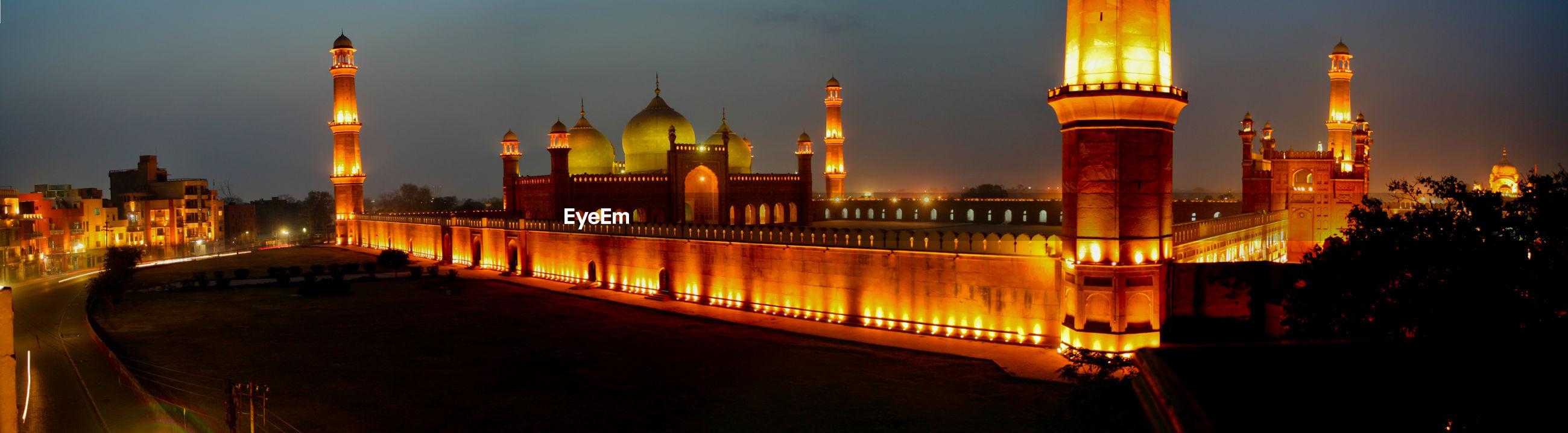 Illuminated badshahi mosque