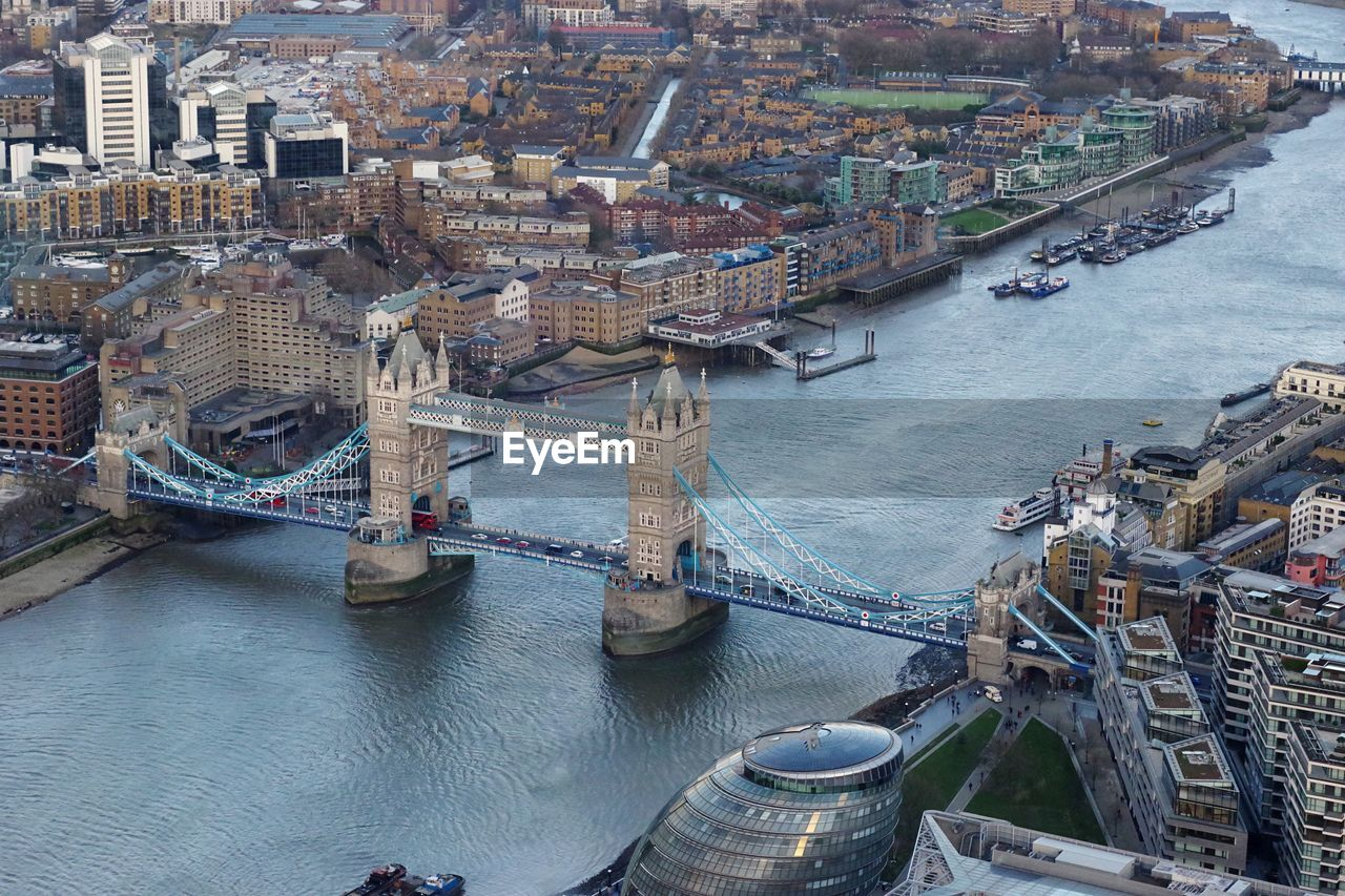High Angle View Of Tower Bridge Over Thames River In City