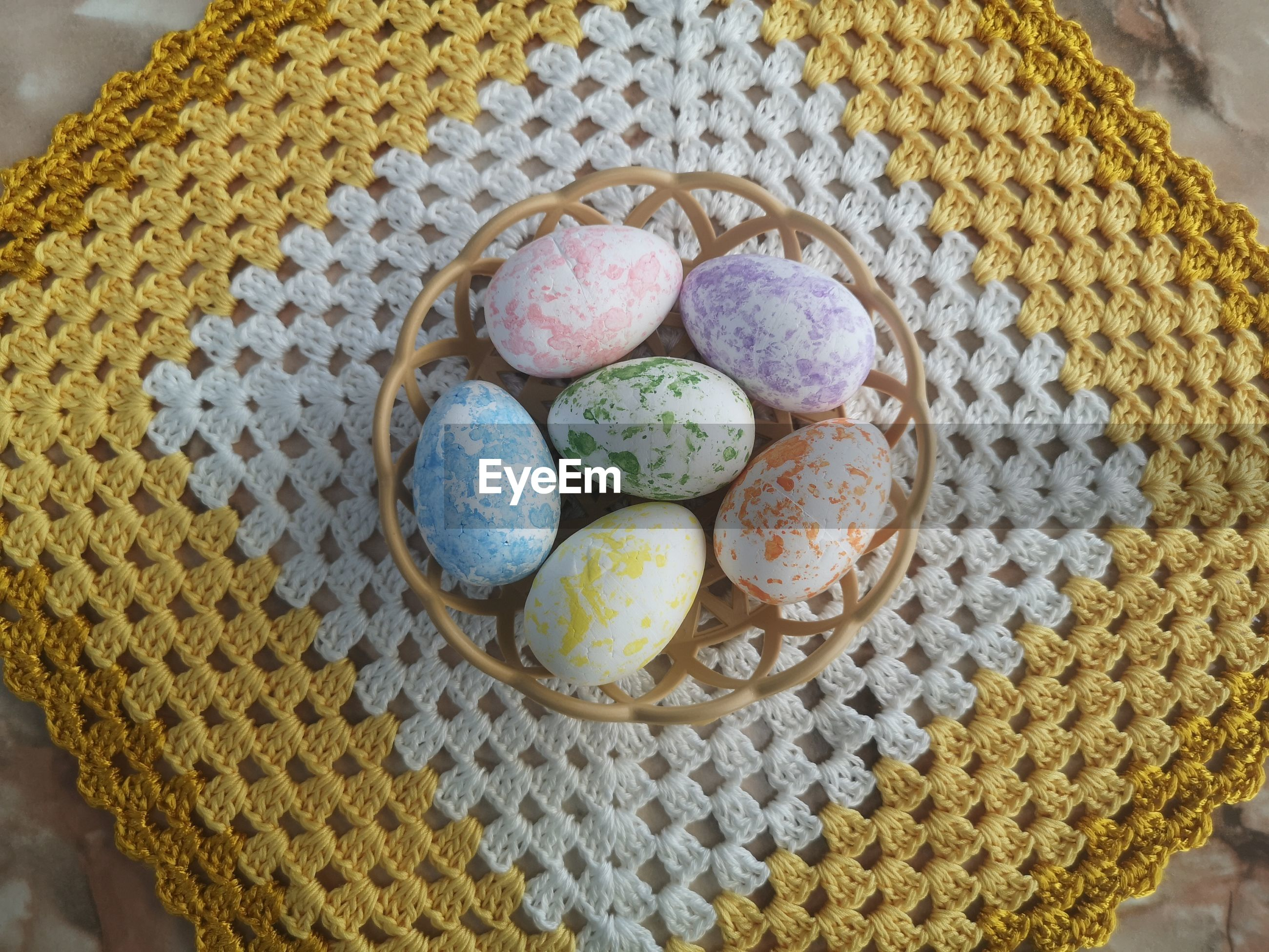 Colored polystyrene eggs