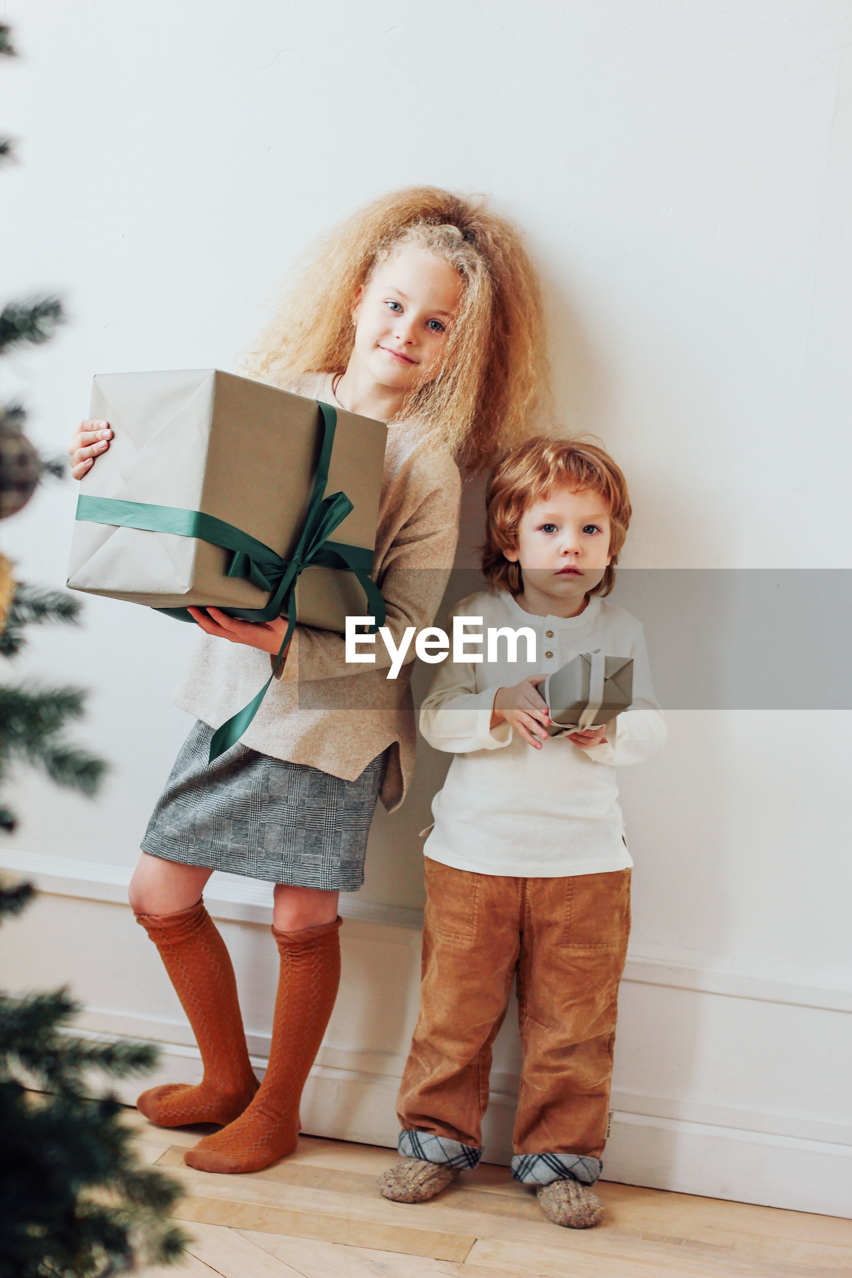 Portrait of girl with brother holding christmas present against wall at home