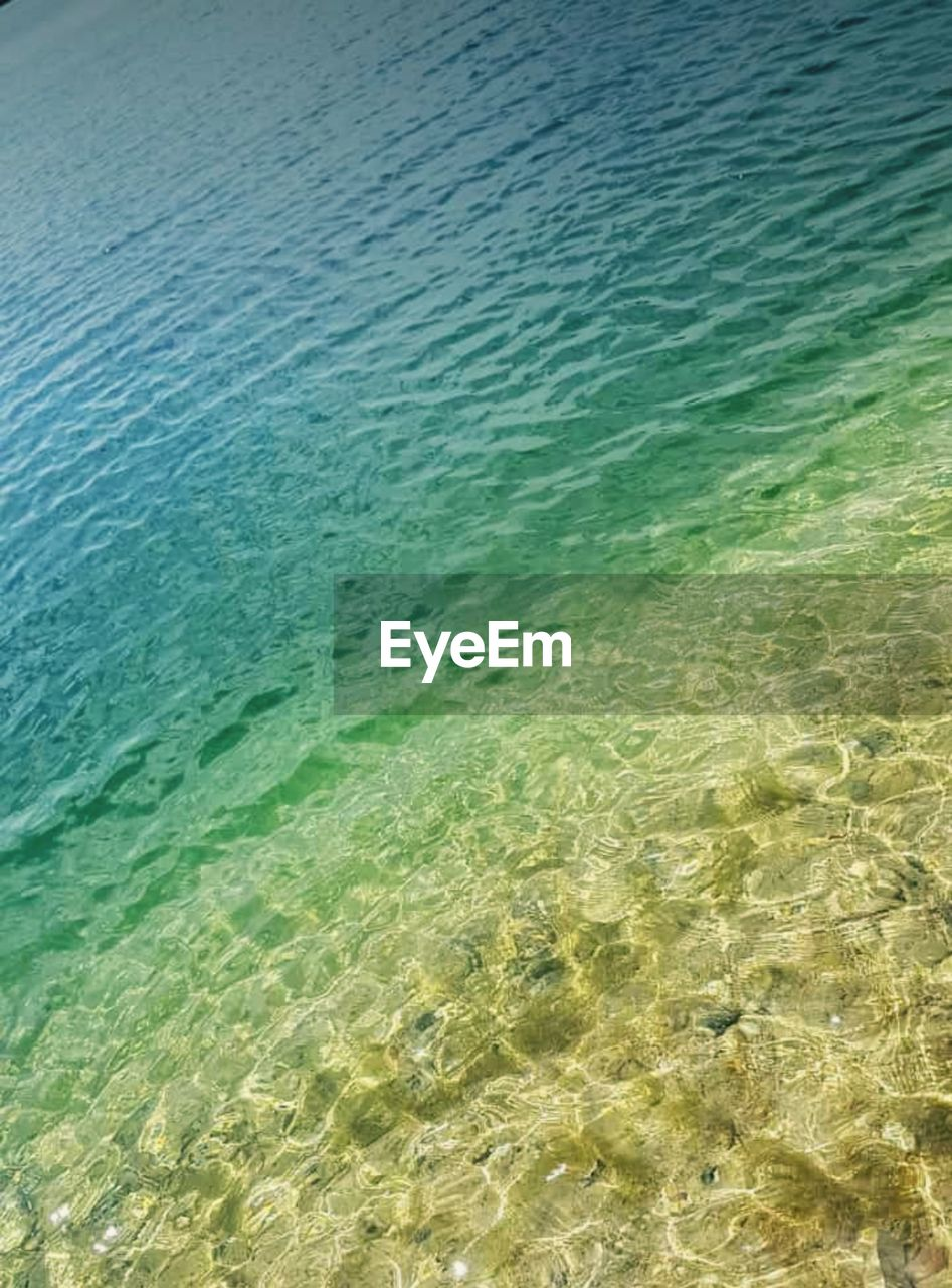 water, sea, land, beach, beauty in nature, no people, tranquility, day, sand, nature, scenics - nature, rippled, outdoors, tranquil scene, high angle view, turquoise colored, transparent, waterfront, refraction, shallow, purity, clean