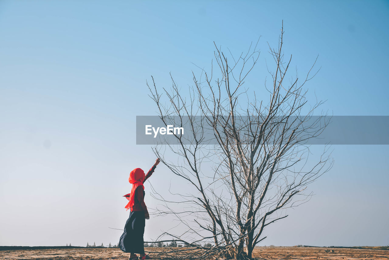 Side View Of Young Woman Touching Bare Tree Branch Against Clear Sky