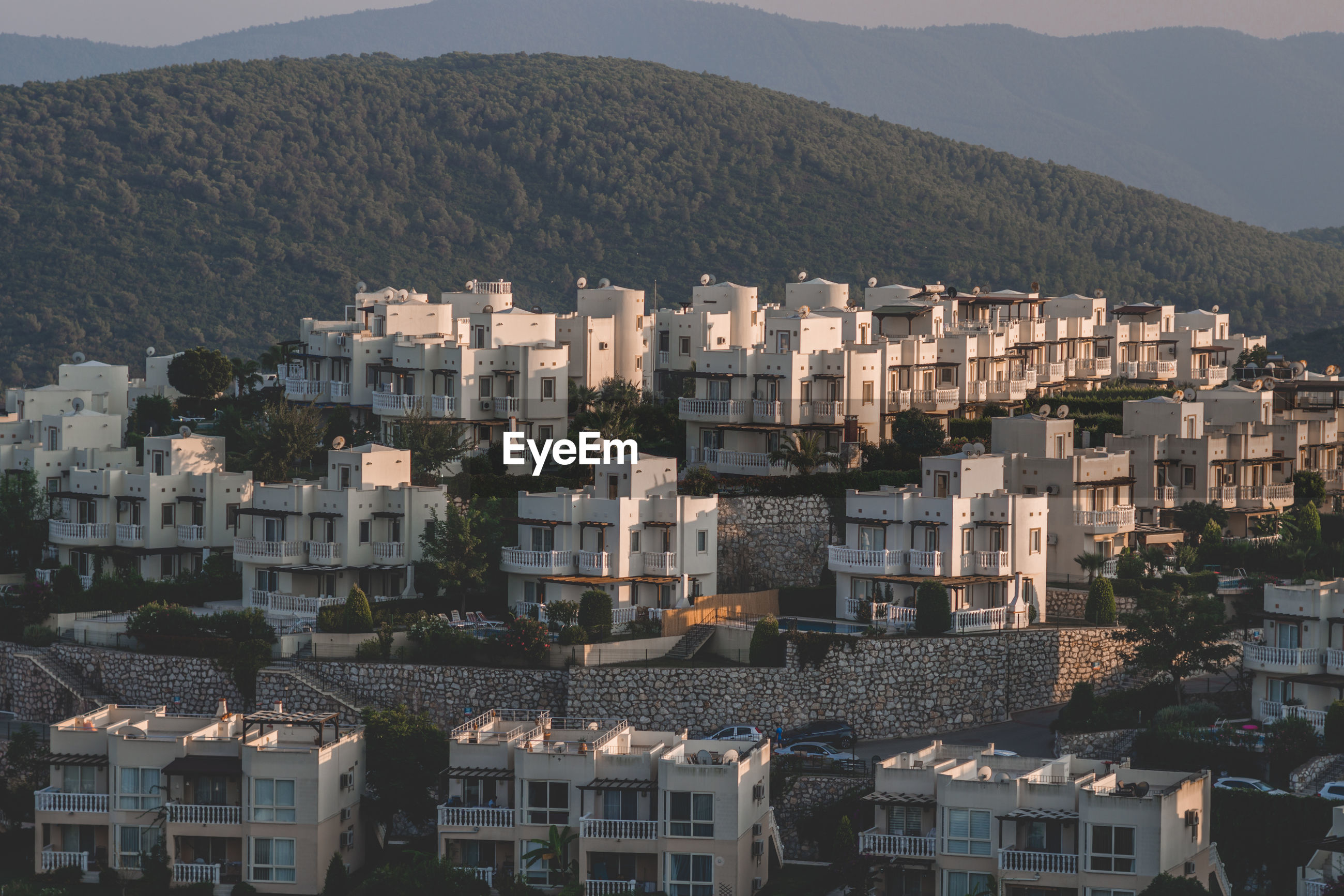 Bodrum, turkey 21st august 2019 summer houses on the hill. small cottage city in western turkey.