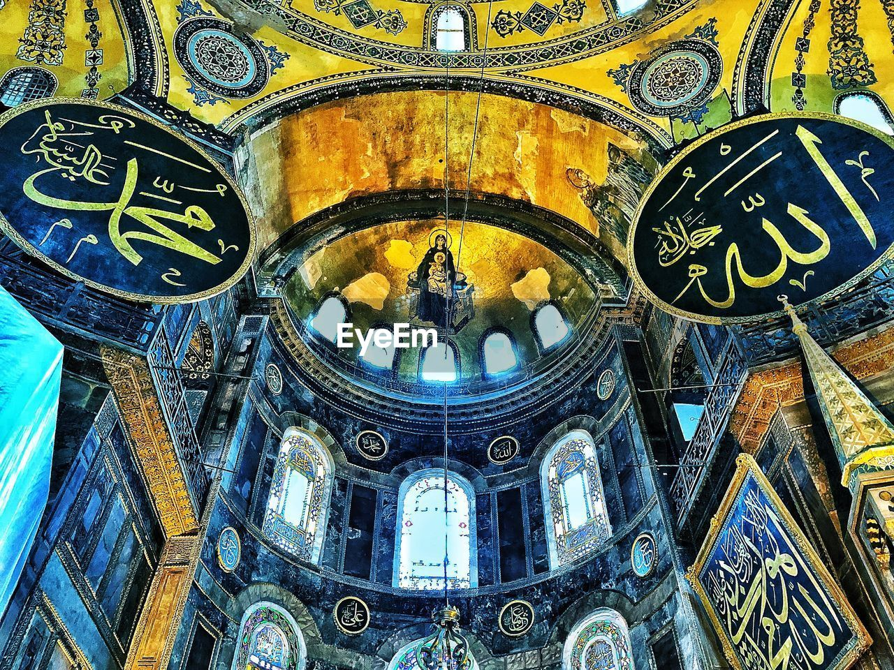 architecture, built structure, low angle view, spirituality, place of worship, religion, belief, building, the past, history, no people, indoors, travel destinations, day, dome, arch, ceiling, architectural column, mural, ornate, cupola