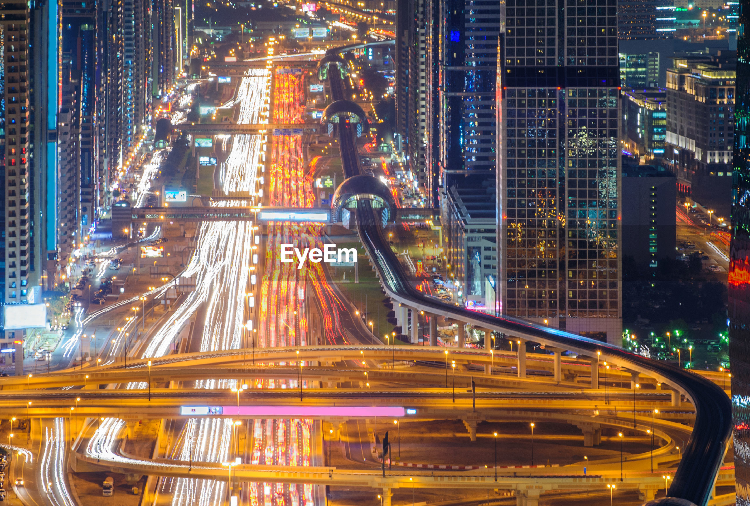 High angle view of dubai downtown highway at night
